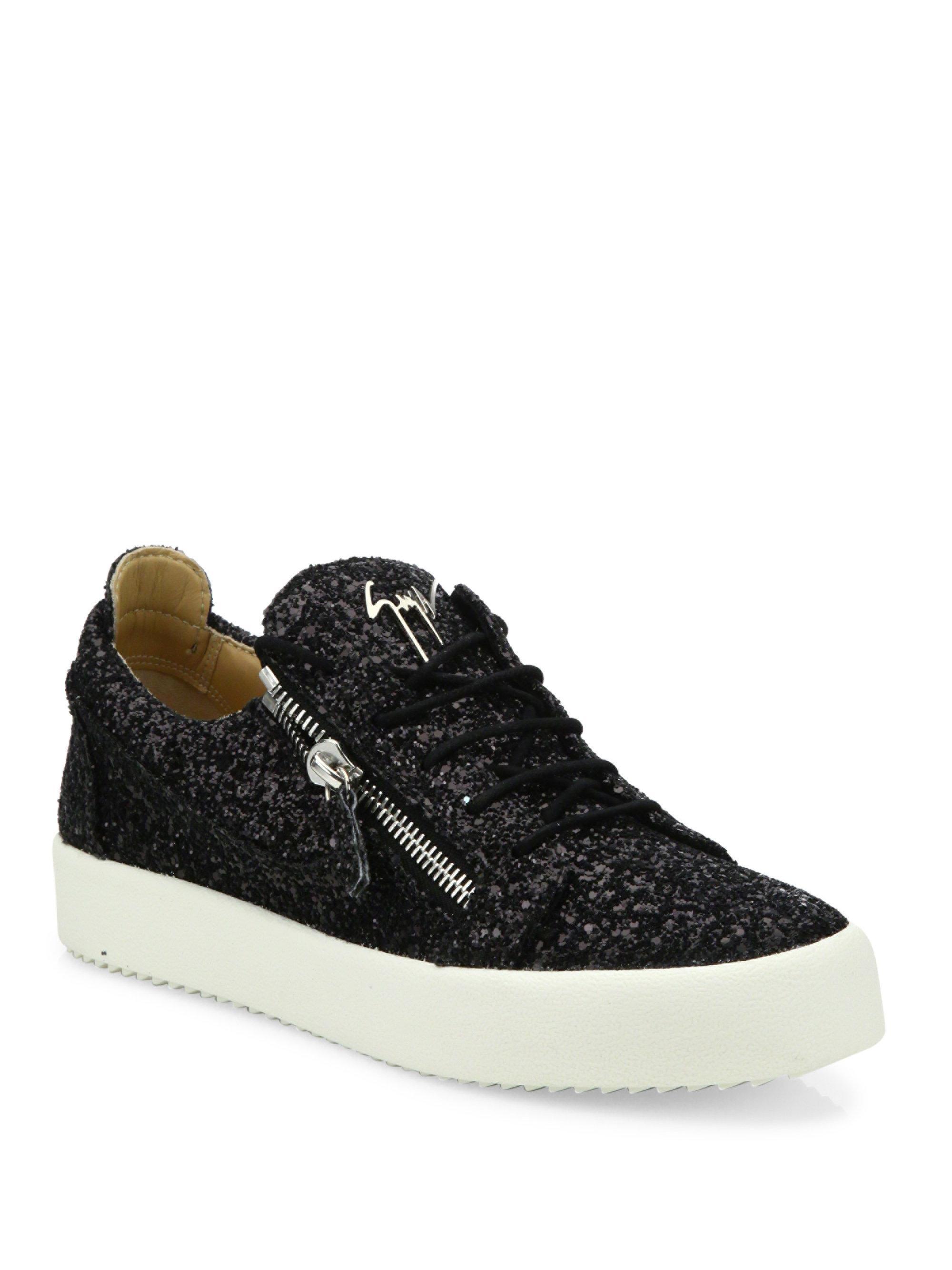 Lyst - Giuseppe Zanotti Glitter Weaved Platform Sneakers