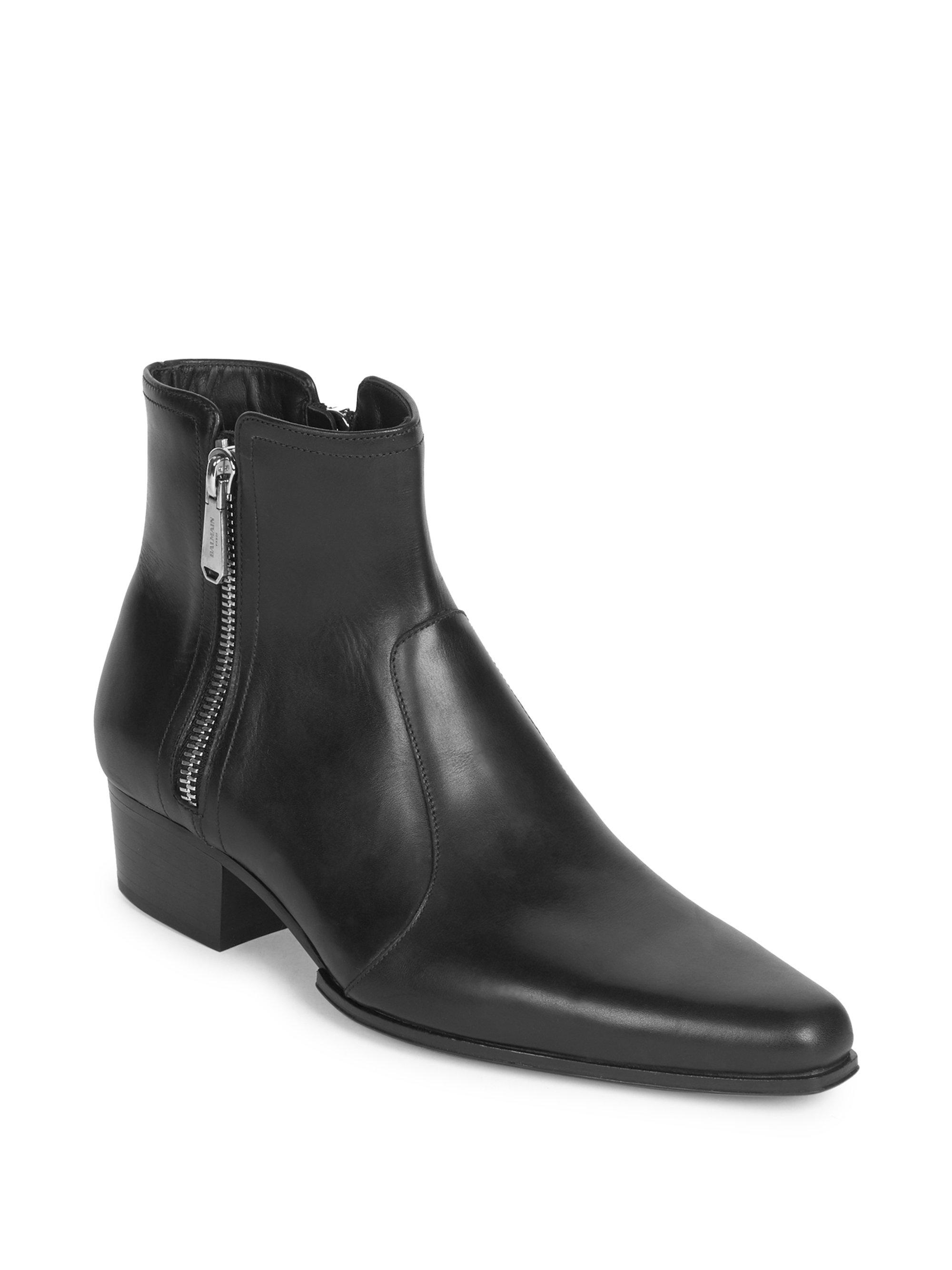 Balmain Double Side Zip Leather Ankle Boots