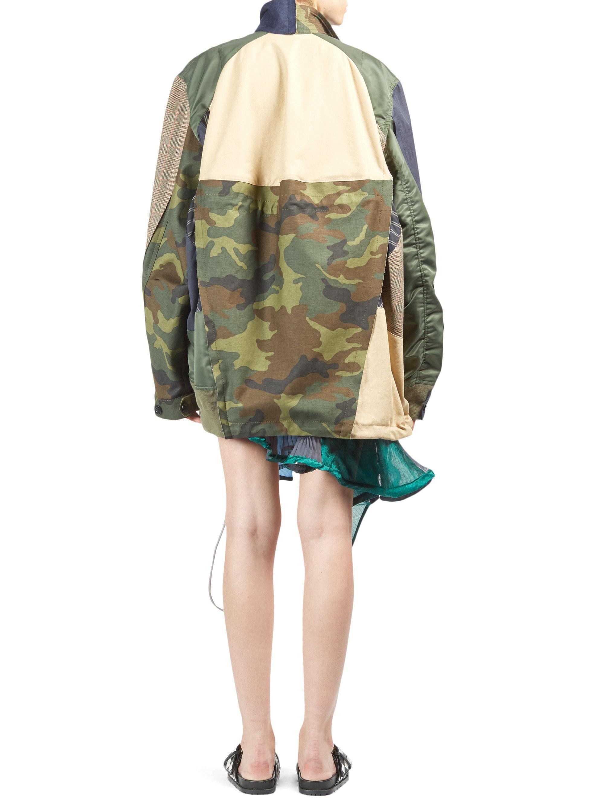 5c0e28ba01148 Sacai Camo And Glen Check Oversized Jacket in Natural - Lyst