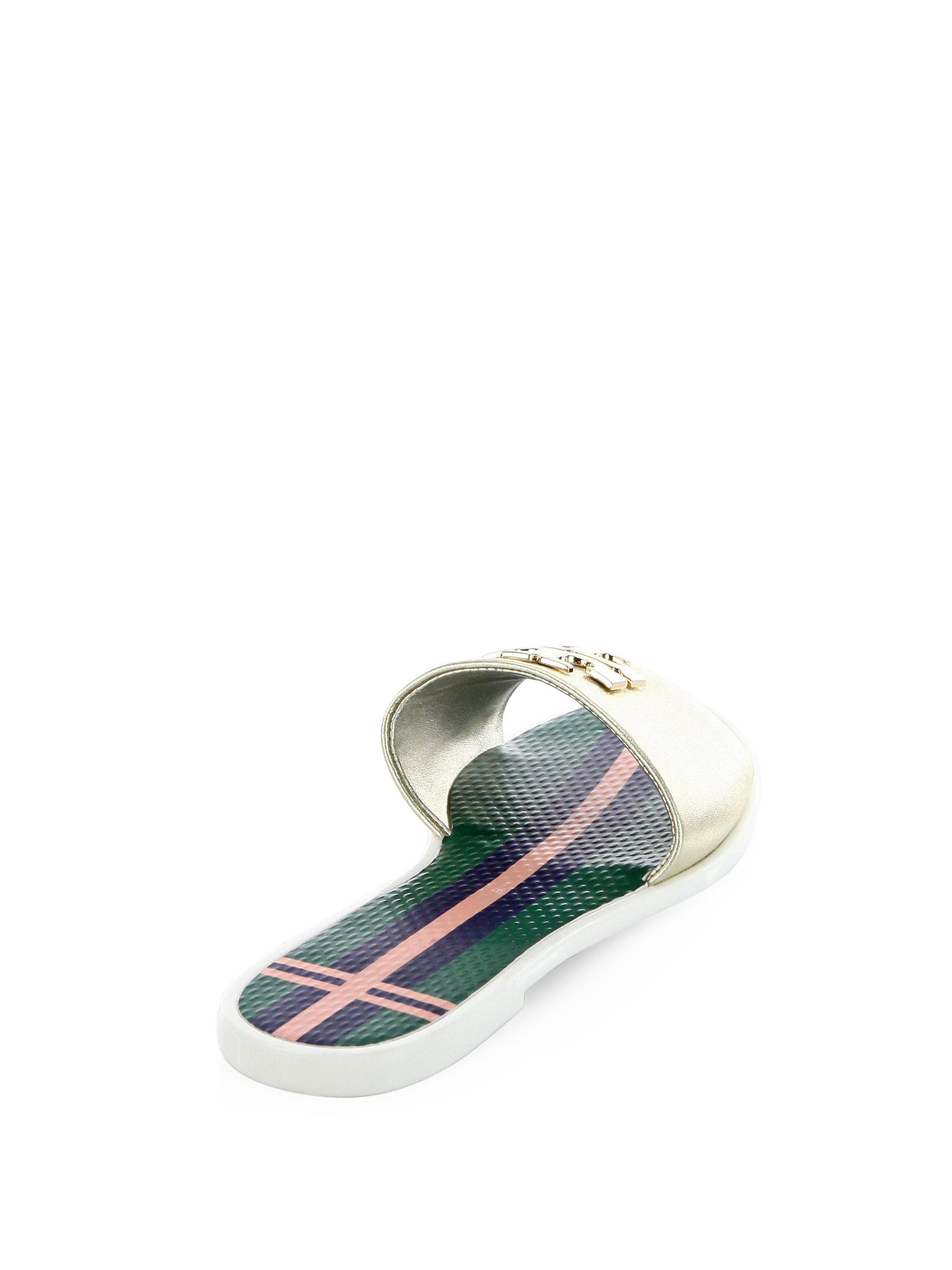 b73e0ce5c1f Lyst - Tory Burch Logo Leather Jelly Slide Sandal in Metallic