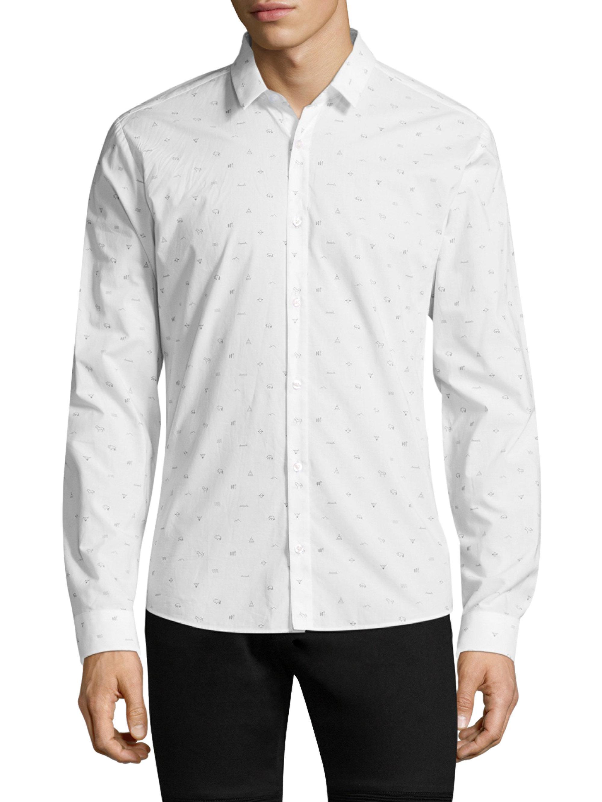 lyst hugo cotton button down shirt in white for men