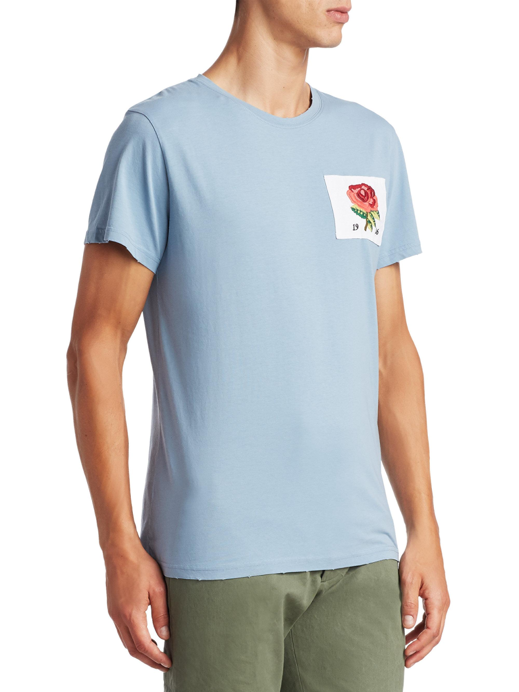 Lyst kent curwen embroidered rose cotton tee in blue