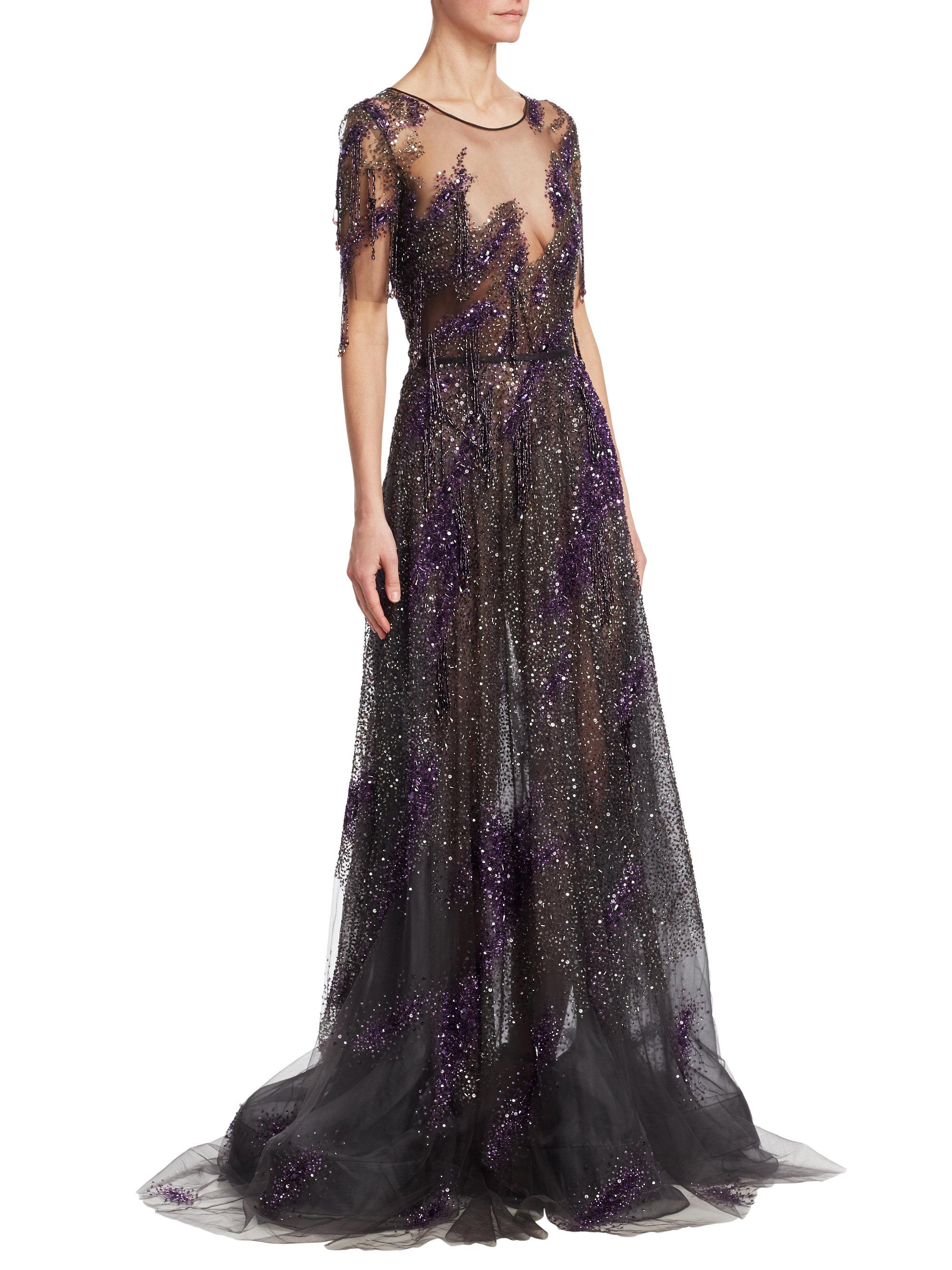 Pamella Roland Sequin Embroidered-fringe Illusion Silk Gown in ... 3d843097e