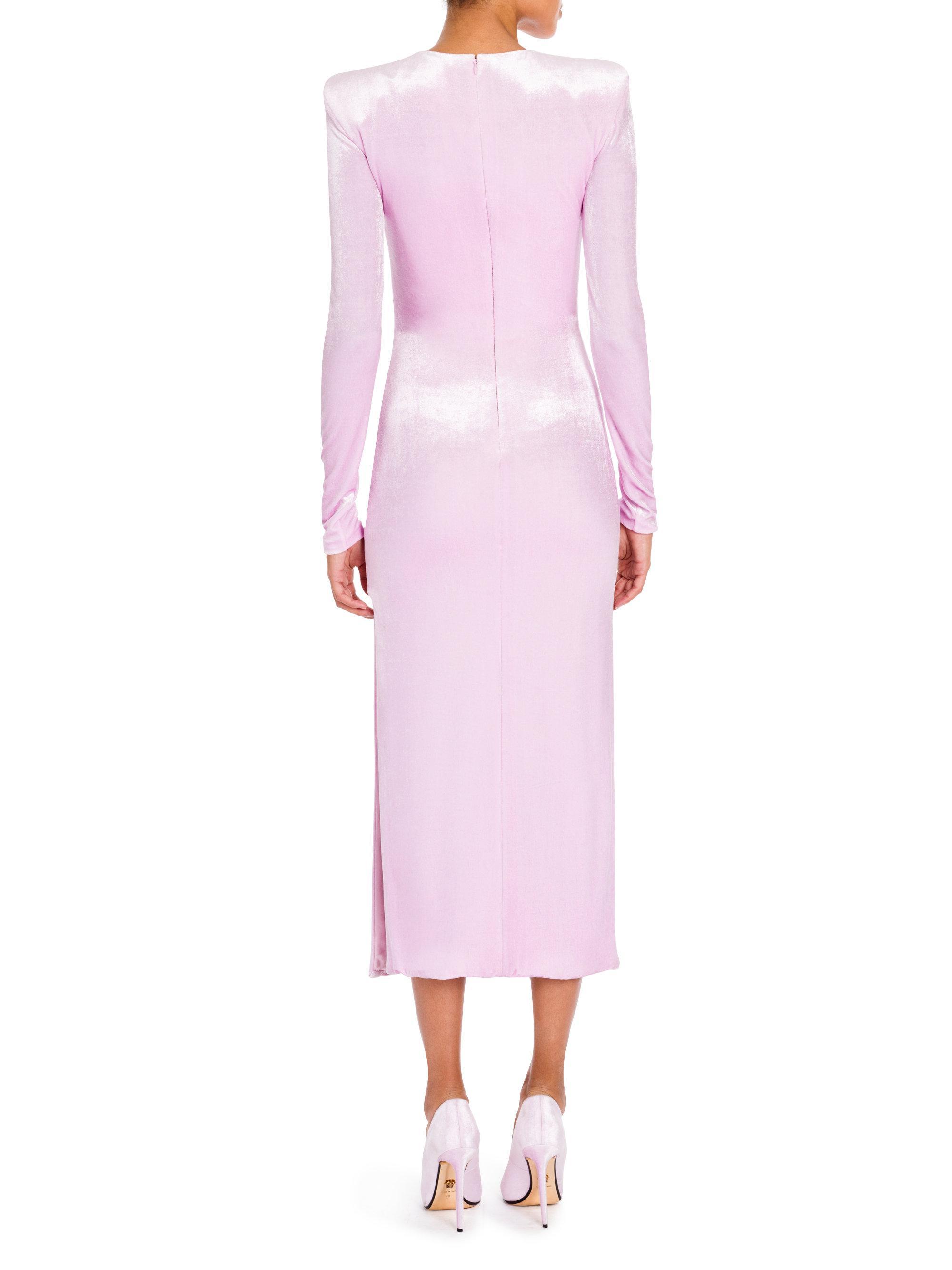 Lyst - Versace Velvet Midi Dress in Pink