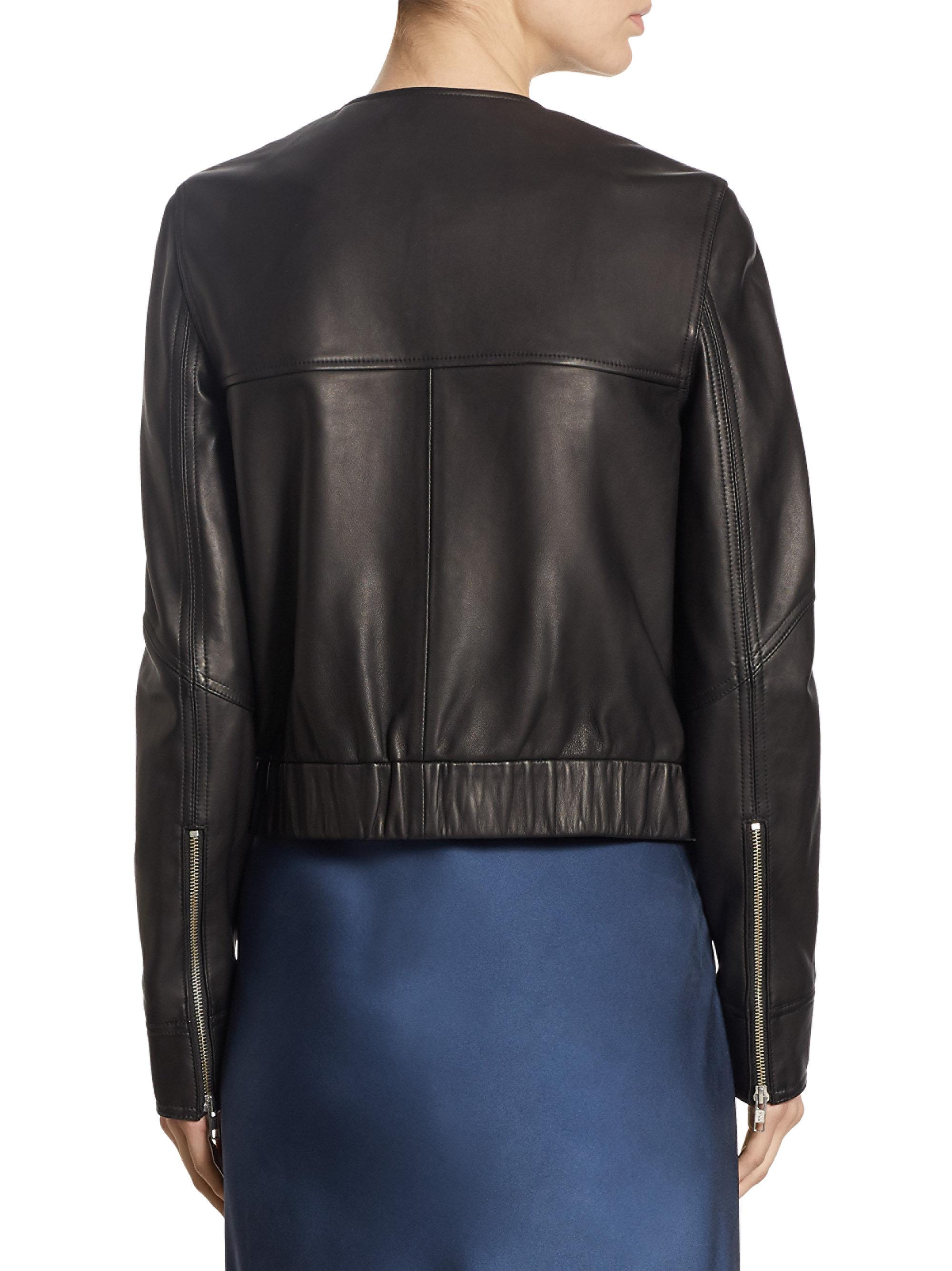 Lyst Theory Onorelle Leather Jacket In Black