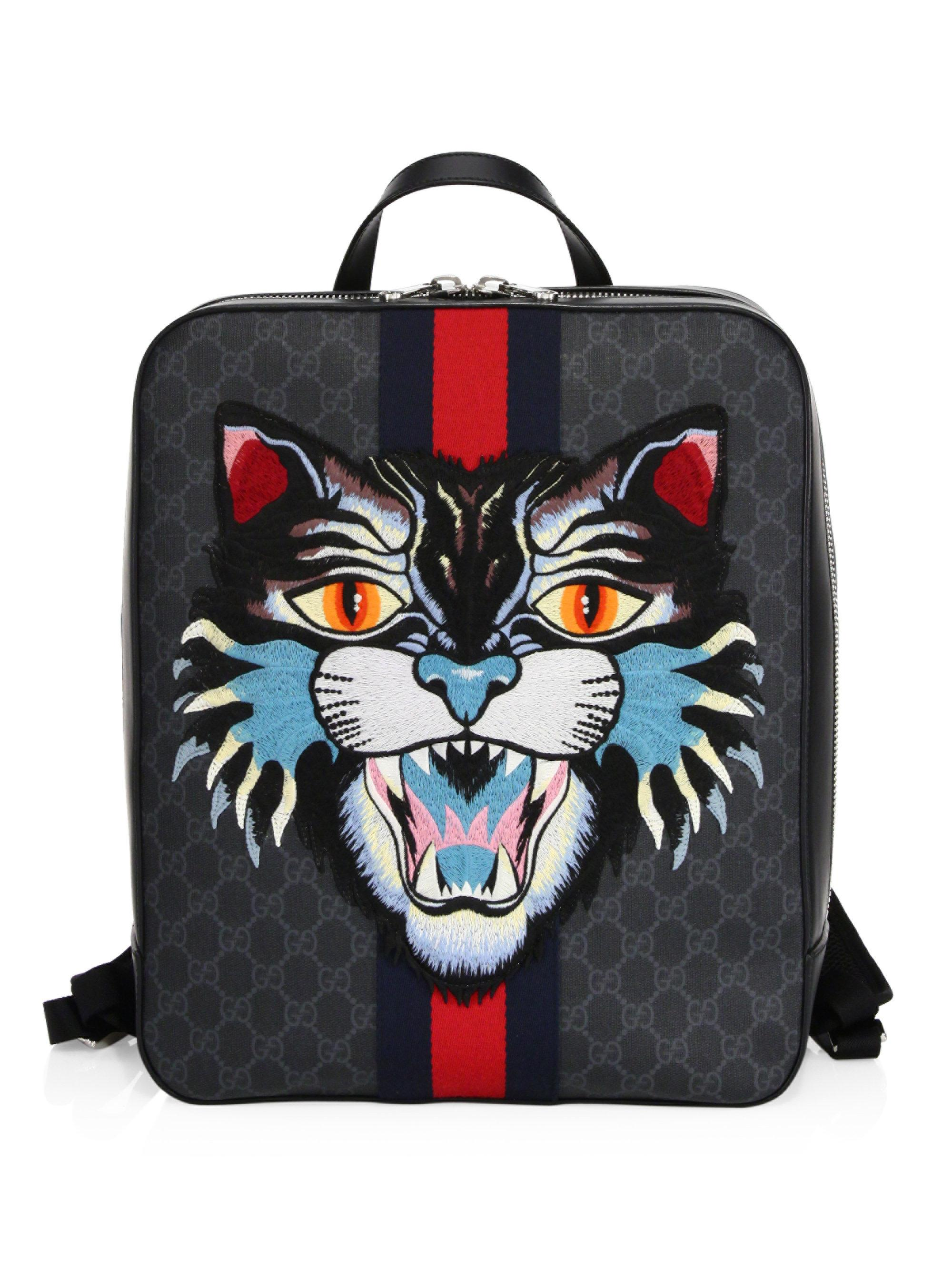 faa5389b50a Gucci Gg Angry Cat Backpack in Black for Men - Lyst