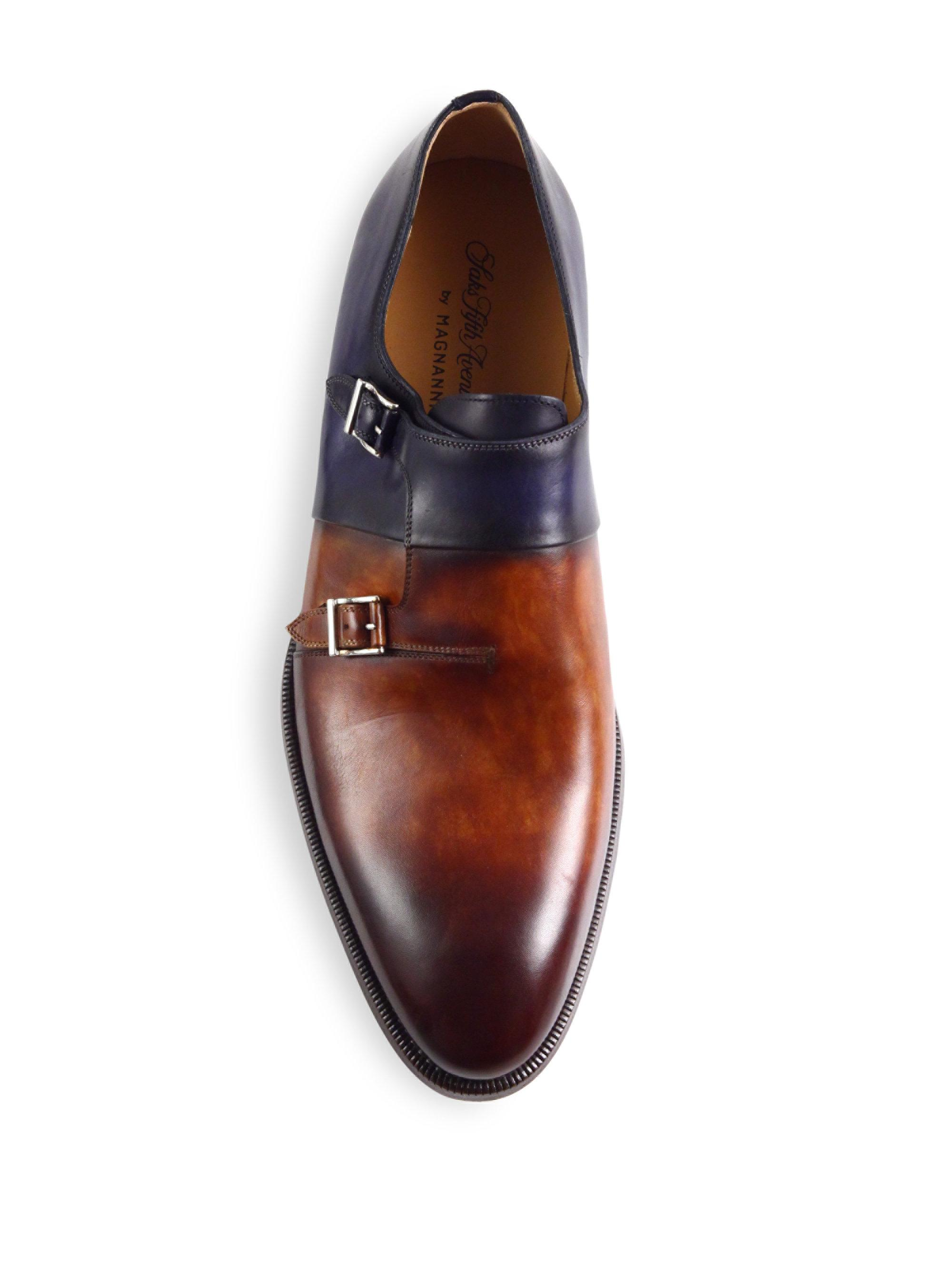 Saks Fifth Avenue COLLECTION Double Monk-Strap Leather Shoes y82vy