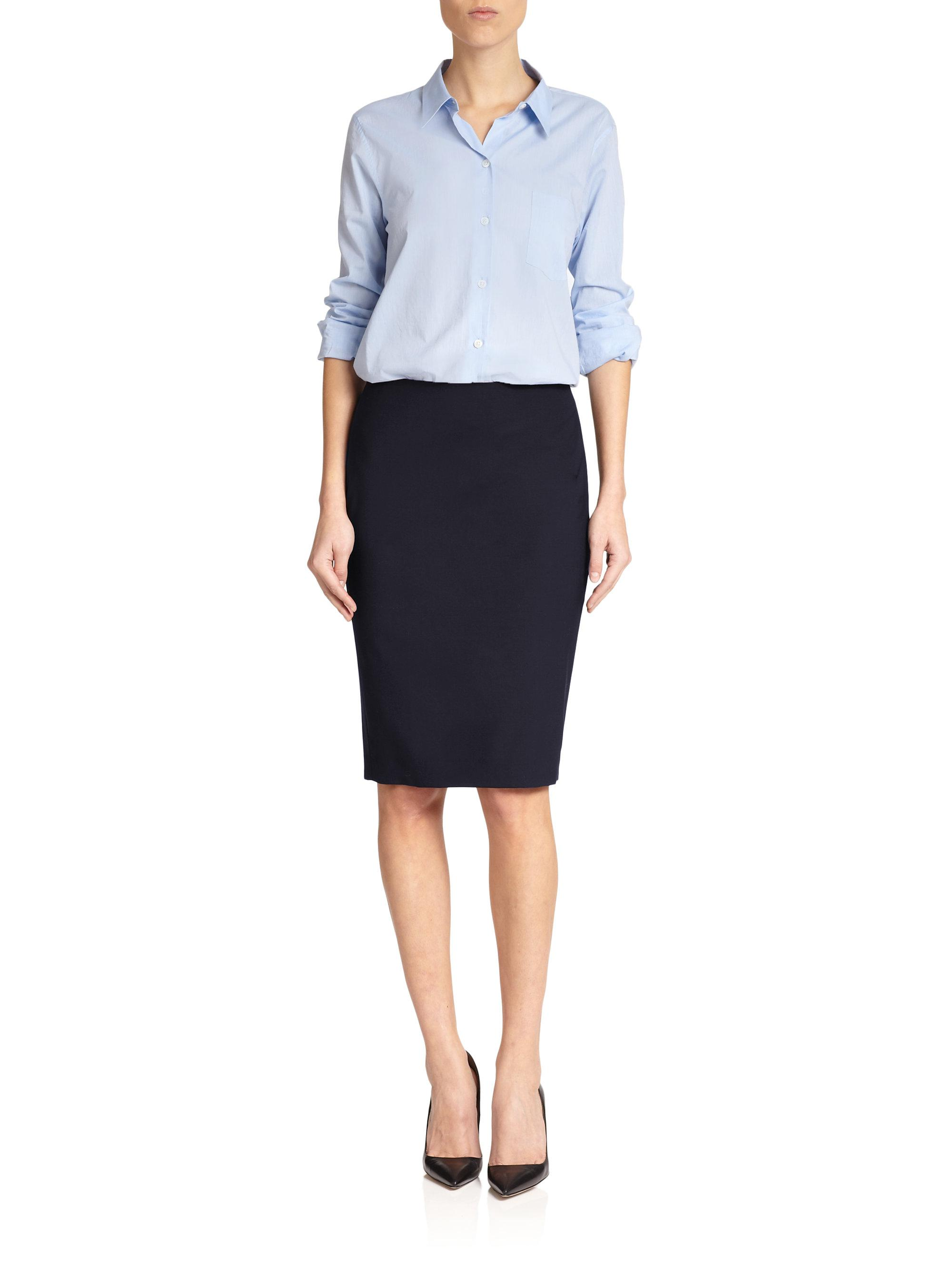 25e552adf Theory Edition Stretch Wool Pencil Skirt in Blue - Lyst