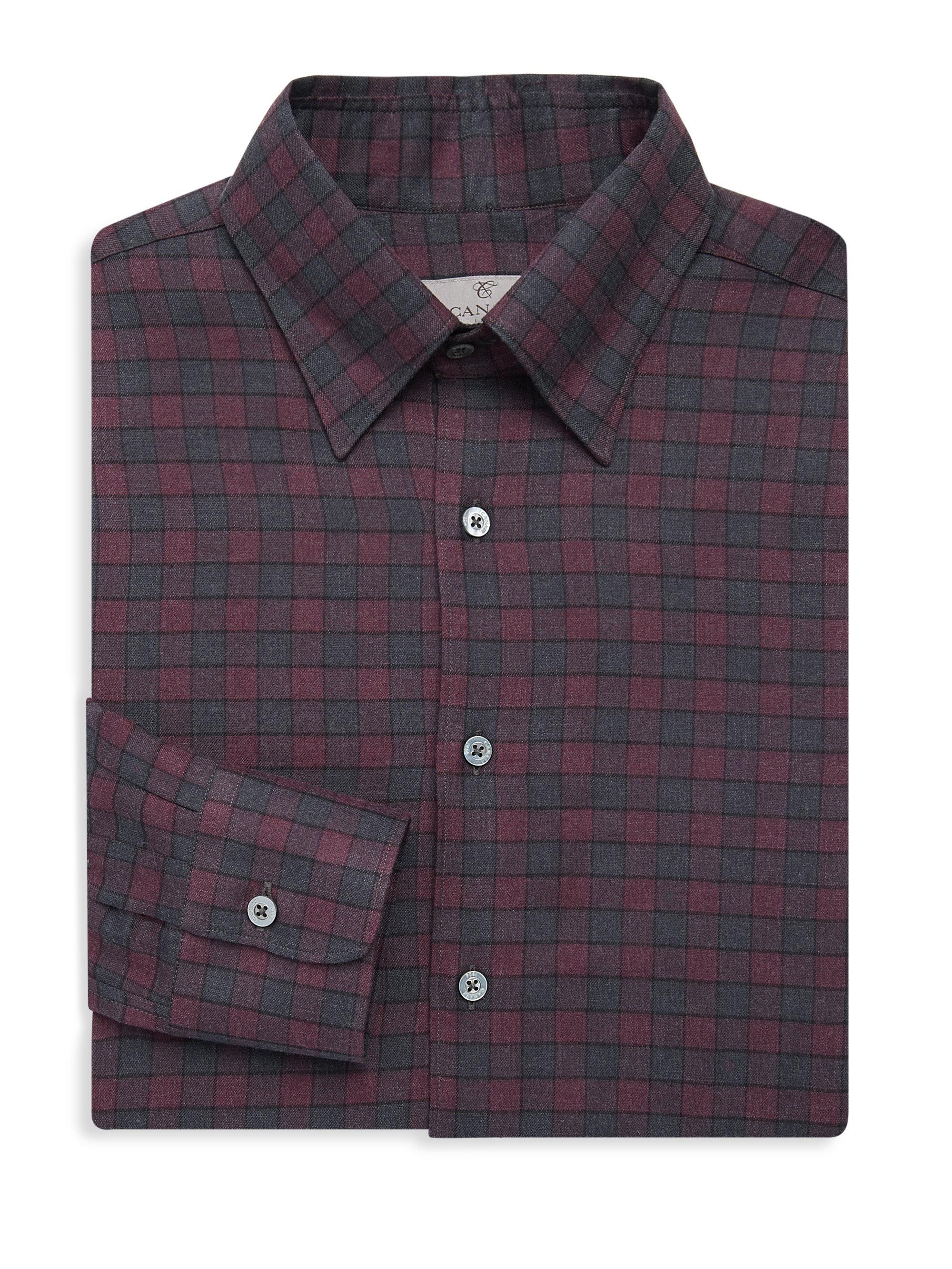 Lyst Canali Plaid Cotton Dress Shirt In Purple For Men