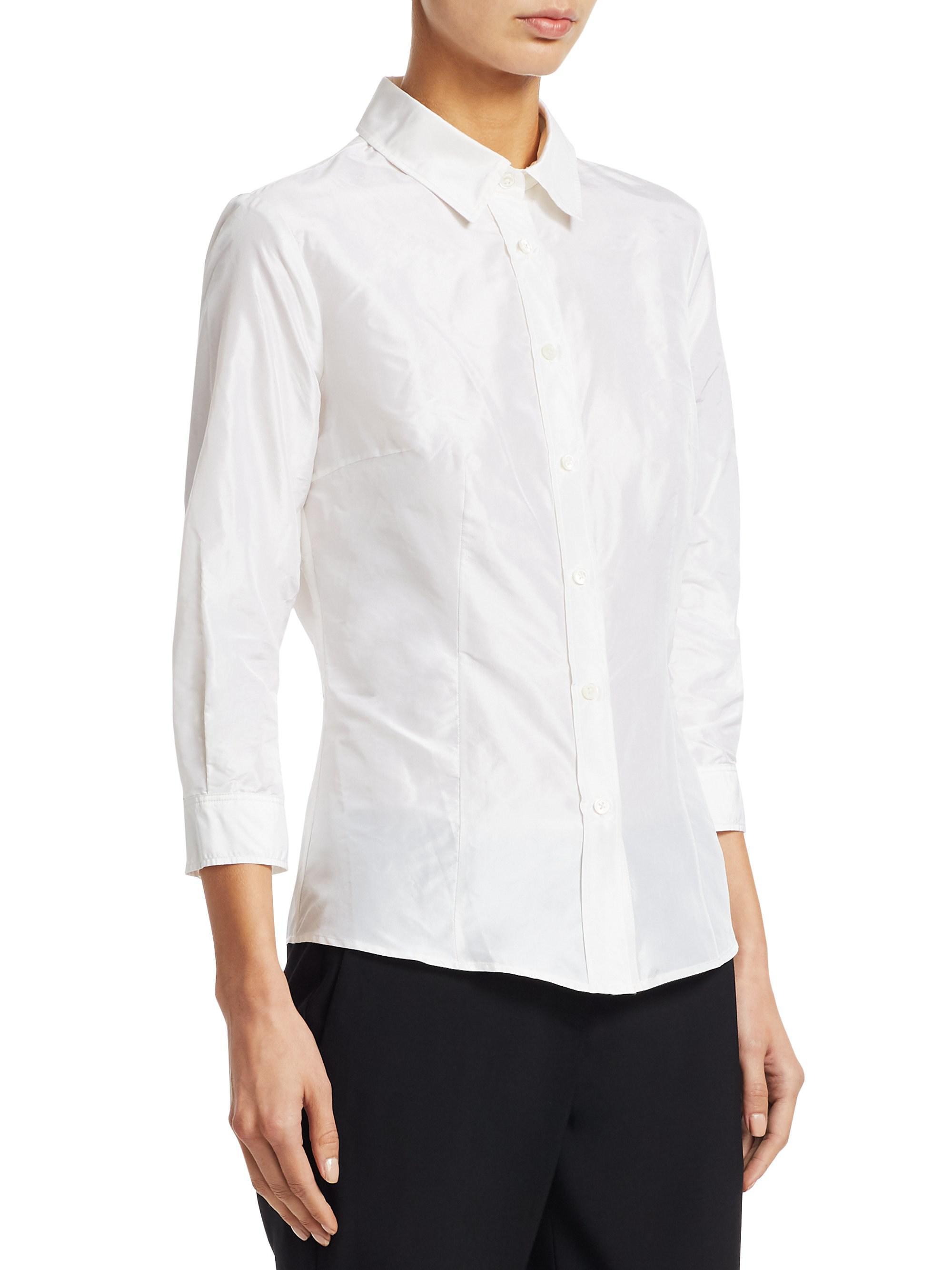 2dd842de5698c Carolina Herrera Signature Taffeta Blouse in White - Lyst