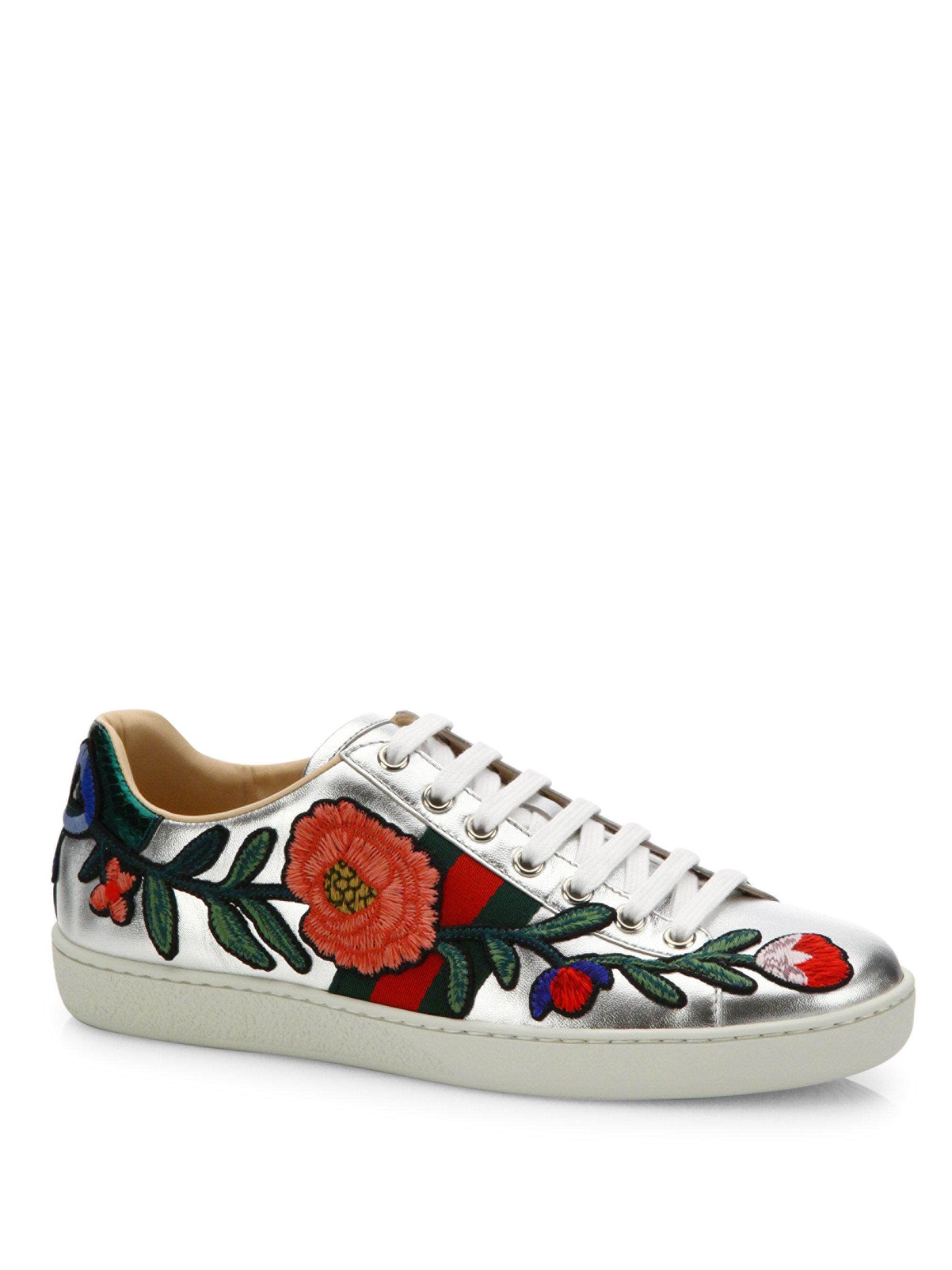 551957304535 Lyst Gucci New Ace Fl Embroidered Metallic Leather Sneakers In