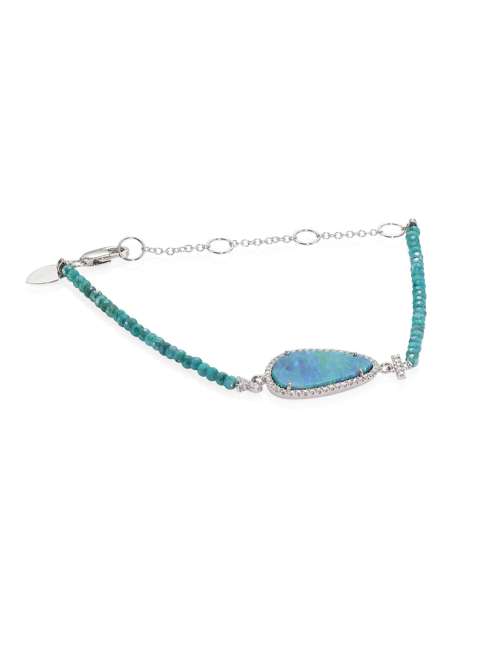 Apae Bead 14k White Gold Bracelet