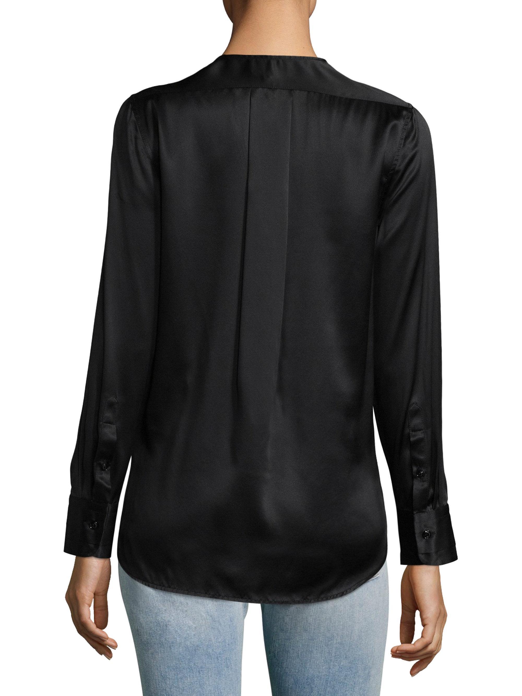 04d0020a24364 Rag   Bone Victor Surplice-neck Long-sleeve Silk Blouse With Velvet ...