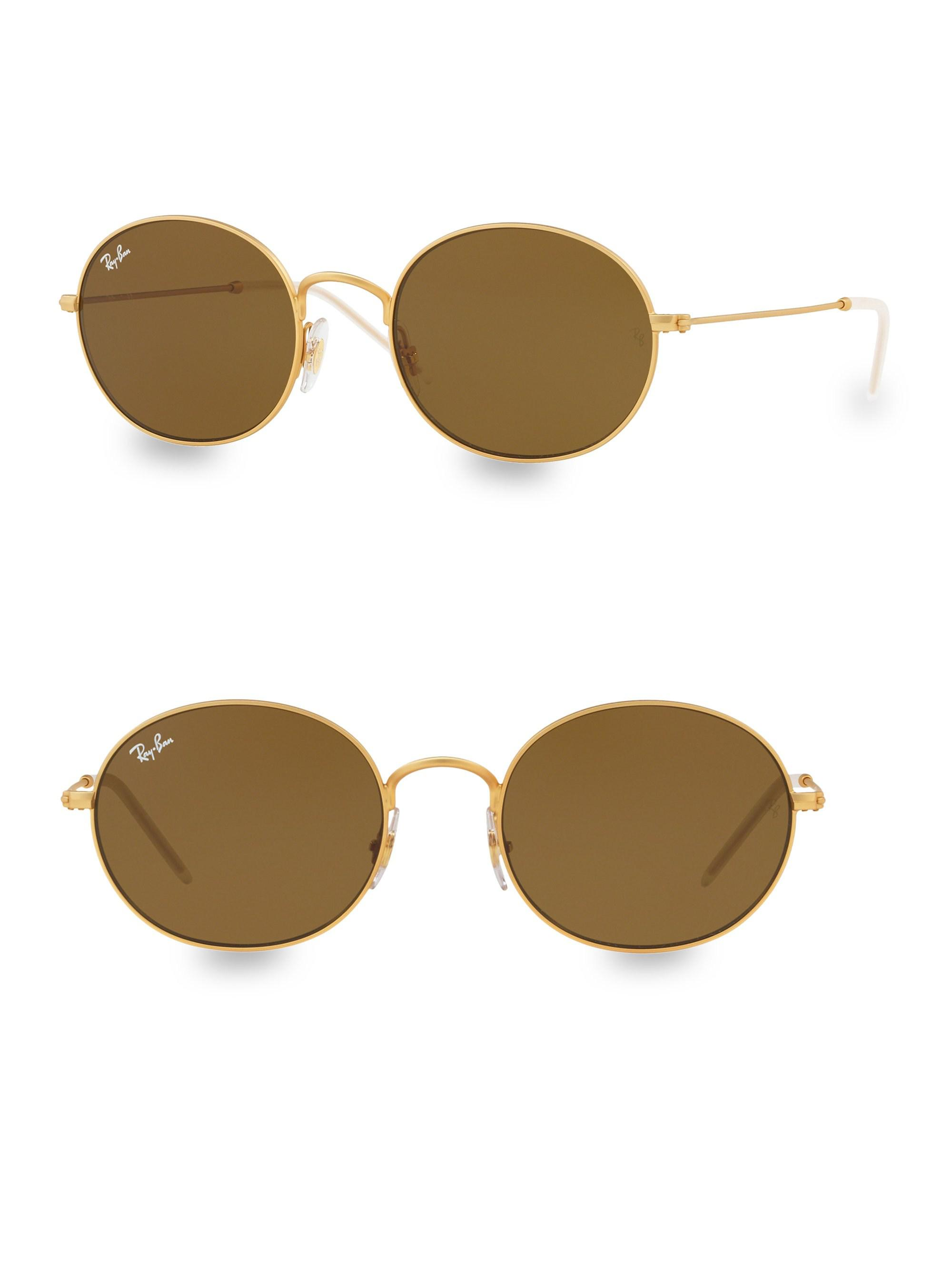 455831eee2 Ray-Ban 53mm Solid Gold Oval Sunglasses in Metallic - Lyst
