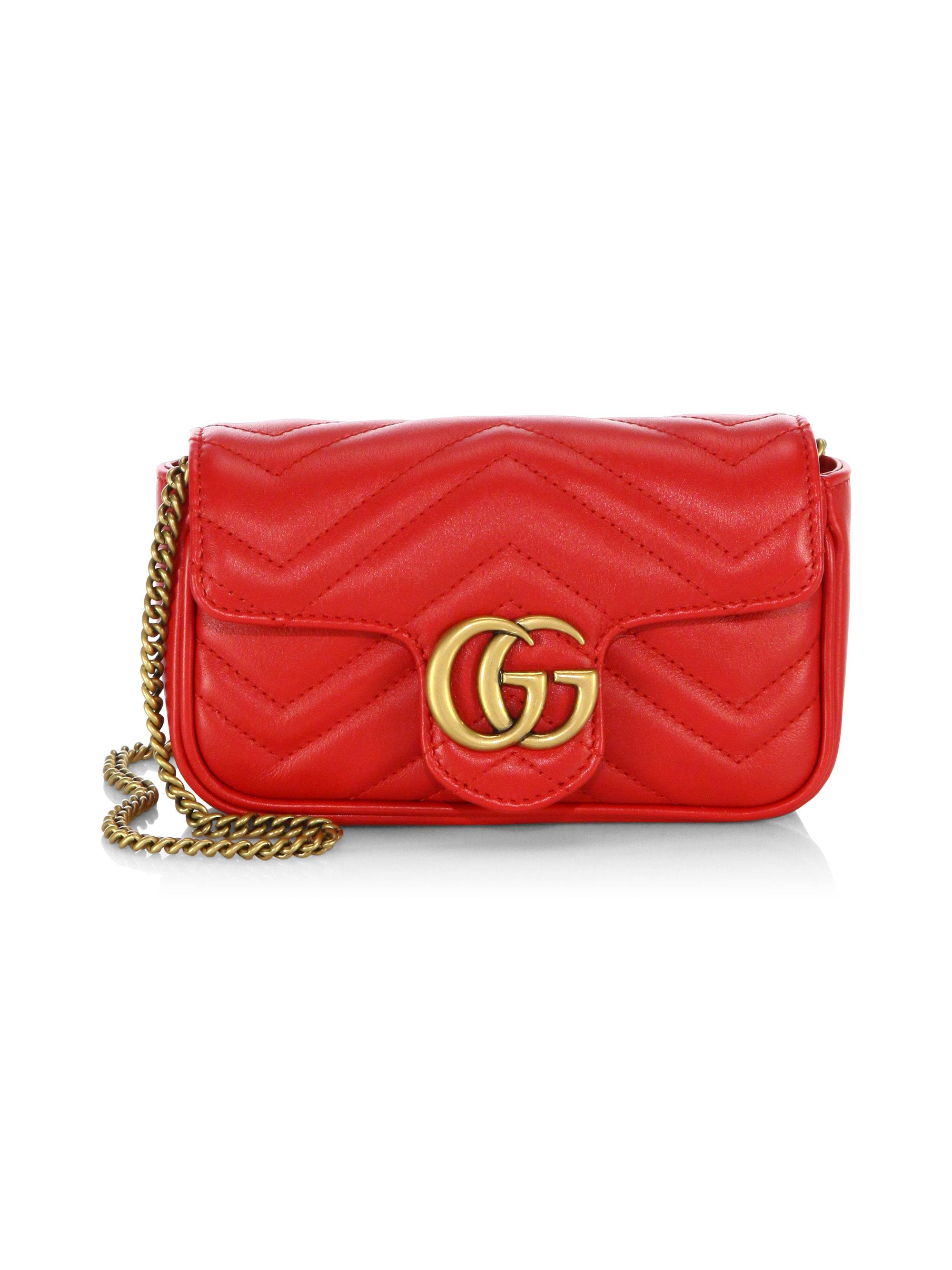 b4585ed4fd6 Lyst - Gucci Gg Marmont Matelasse Leather Mini Chain Shoulder Bag in Red
