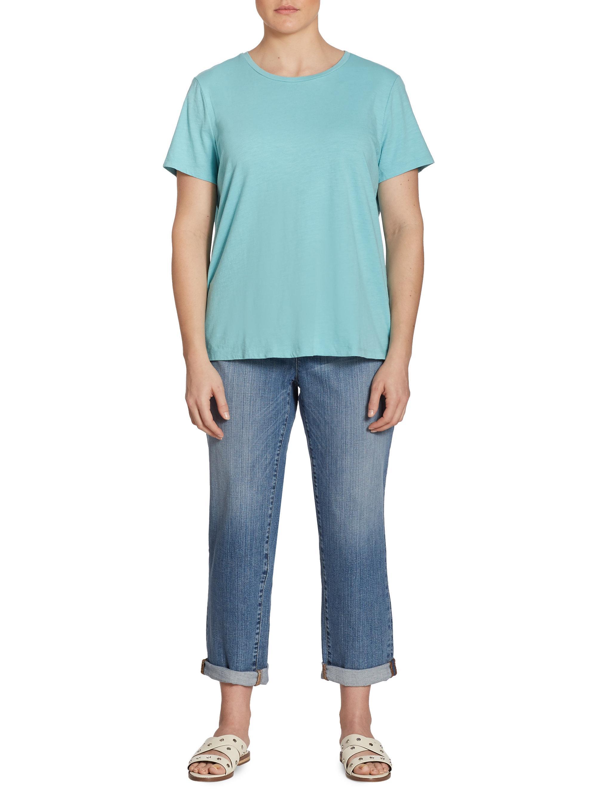 Lyst eileen fisher slub organic cotton jersey tee in blue for Eileen fisher organic cotton t shirt