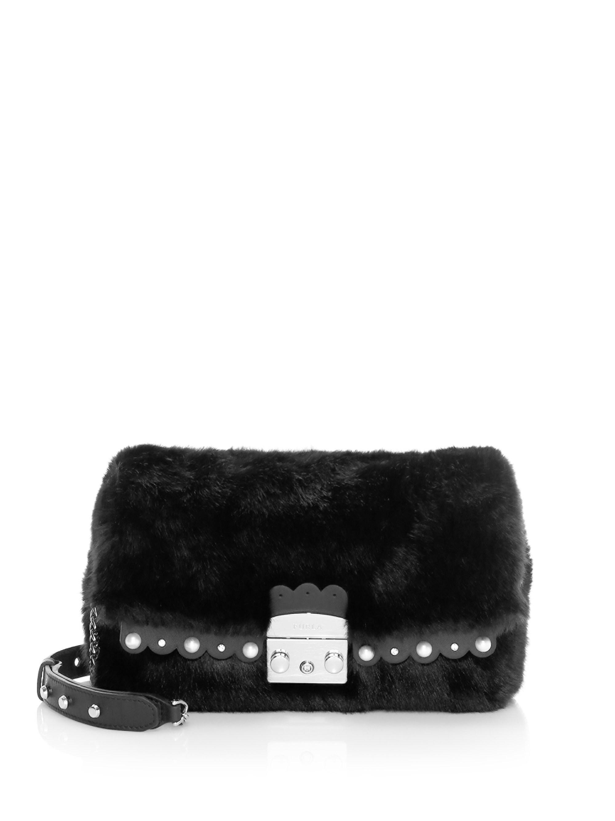 Lyst - Furla Women s Small Metropolis Nuvola Faux Fur Shoulder Bag ... 5bb296f324821