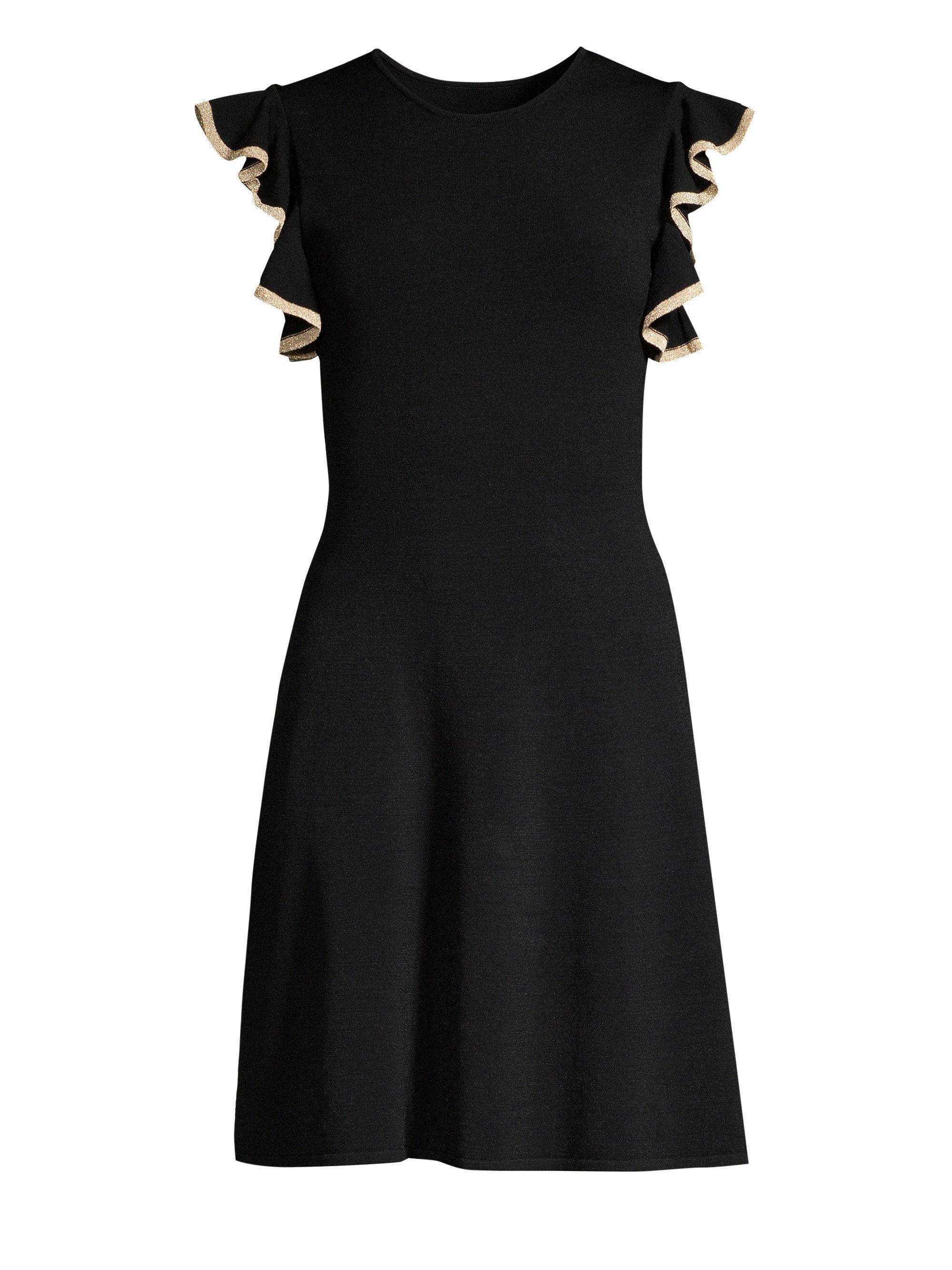 7f953a0ef48aa Lyst - Shoshanna Saya Knit Ruffle-trim Dress in Black - Save 75%