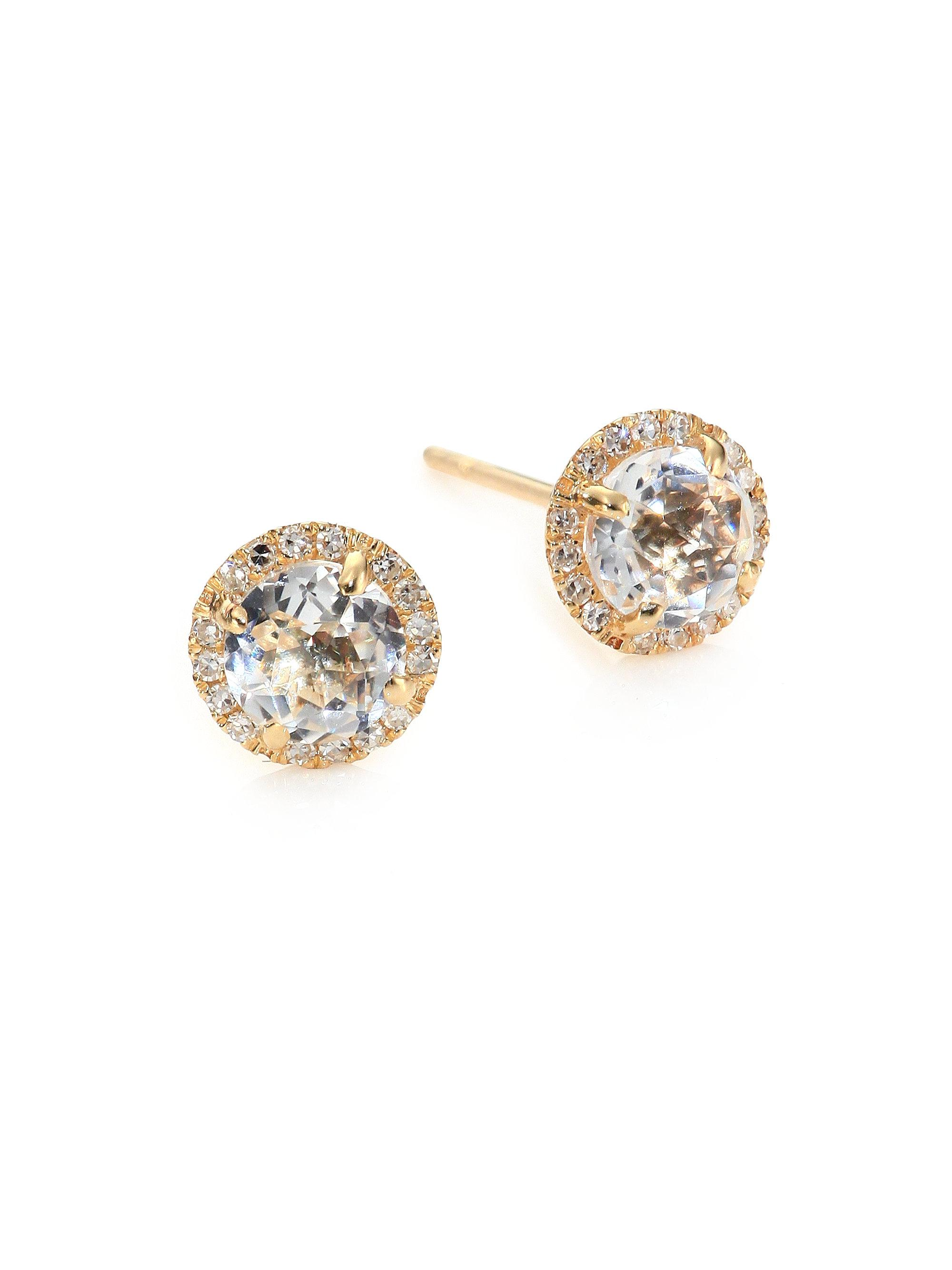 earrings stud mini gold brave white topaz gunmetal collections studs rose vermeil