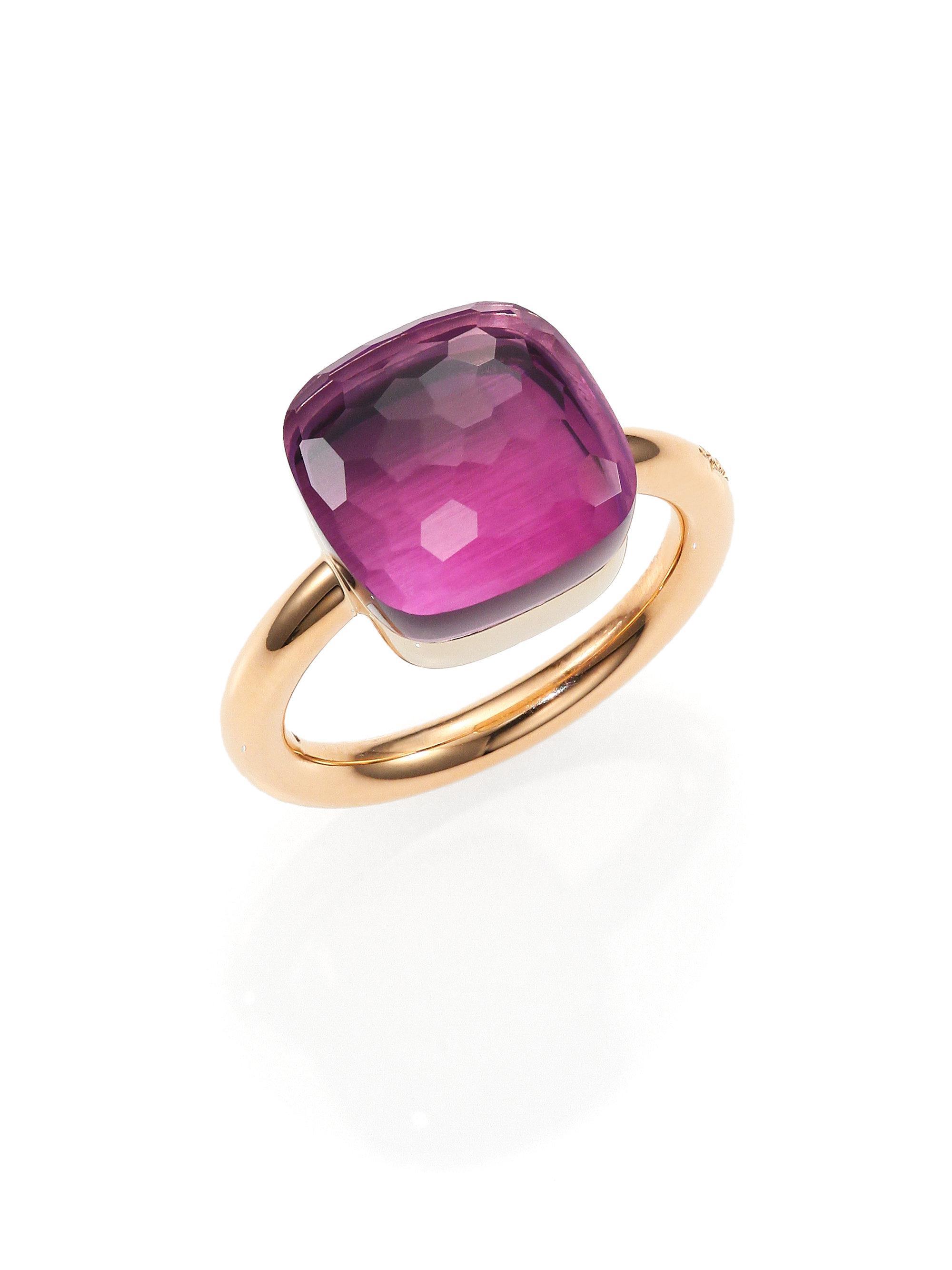 POMELLATO Nudo 18k Rose Gold & Amethyst Mini Ring AHMGJF