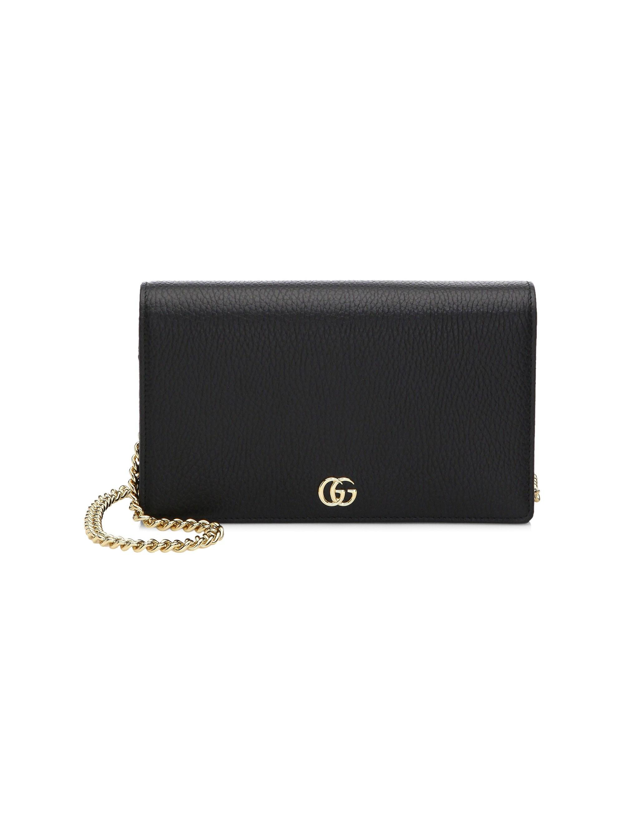 dcaa77b4c5a Lyst - Gucci Women s Petite Marmont Wallet On Chain - Black in Black
