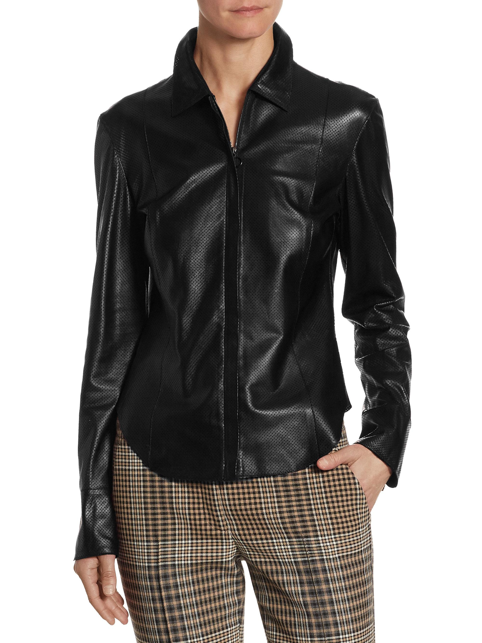 Lyst akris punto perforated leather jacket in black for Leather jacket and shirt