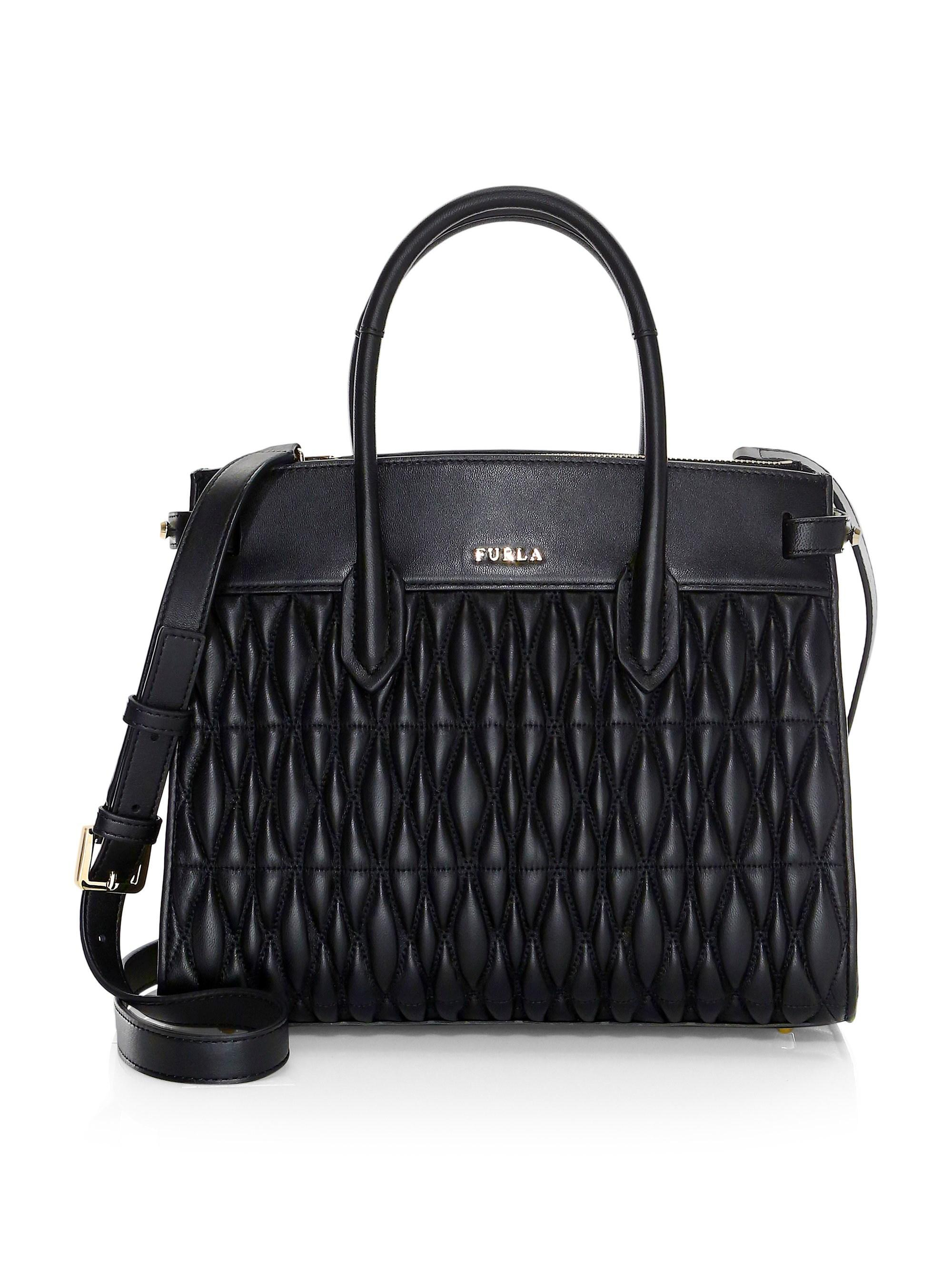 09c5b1a781a1 Furla - Black Pin Small Quilted Leather Tote - Lyst. View fullscreen
