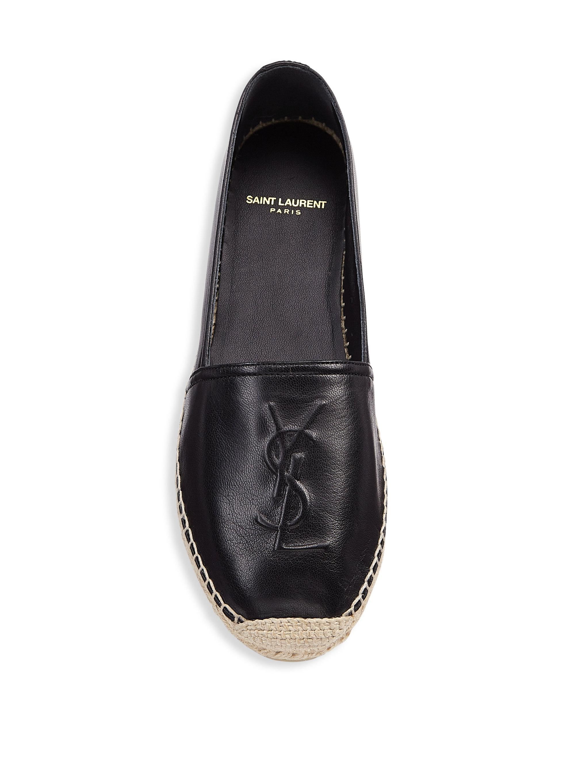 Lyst Saint Laurent Ysl Logo Leather Espadrilles In Black