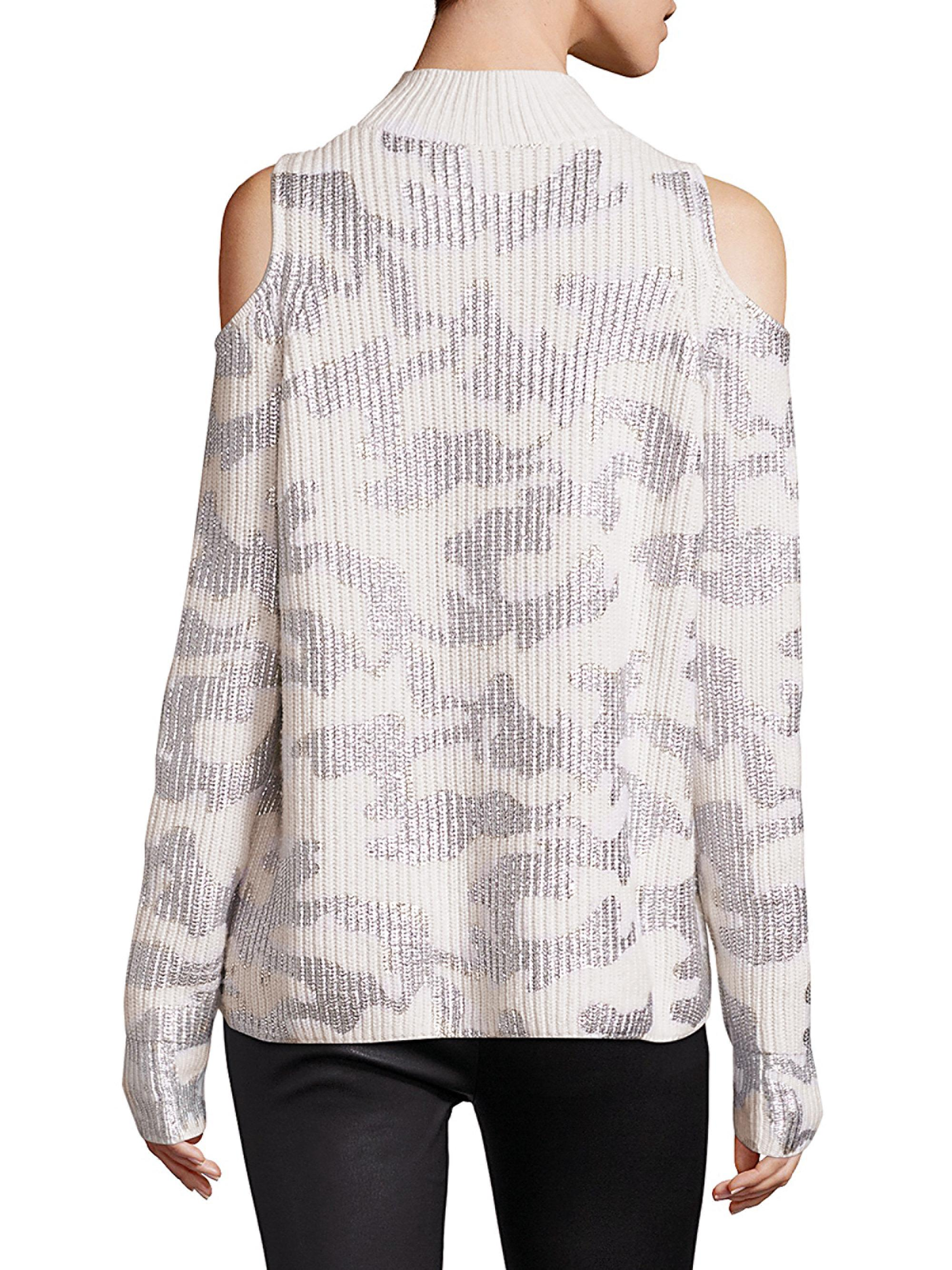 dc1f10a9cefb33 Lyst - Zoe Jordan Hawking Cold-shoulder Sweater in White