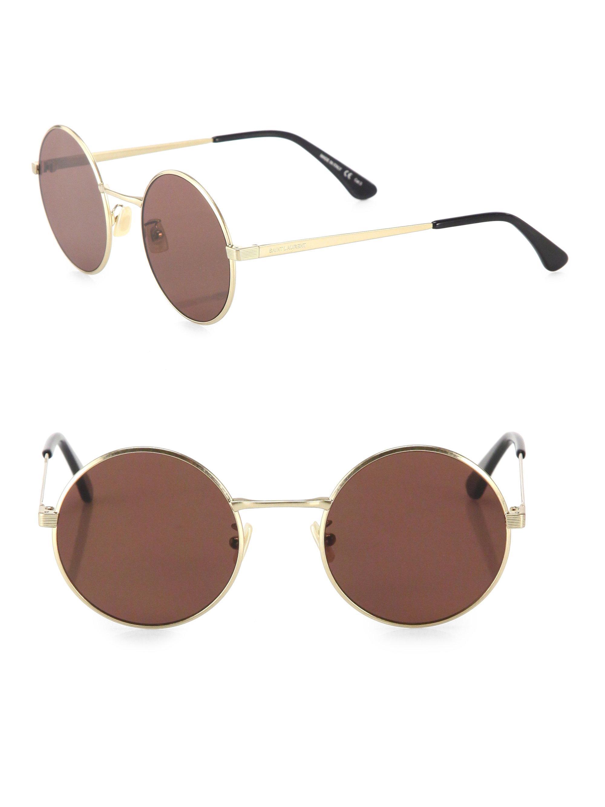 71c7080fb96 Saint laurent Sl 136 Zero 52mm Round Sunglasses in Metallic