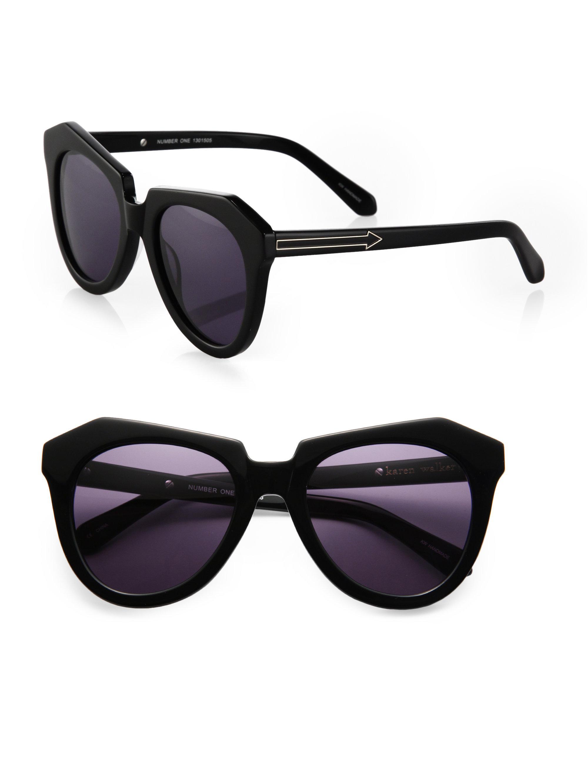 b361605b625 Lyst - Karen Walker Number One Plastic Sunglasses in Black