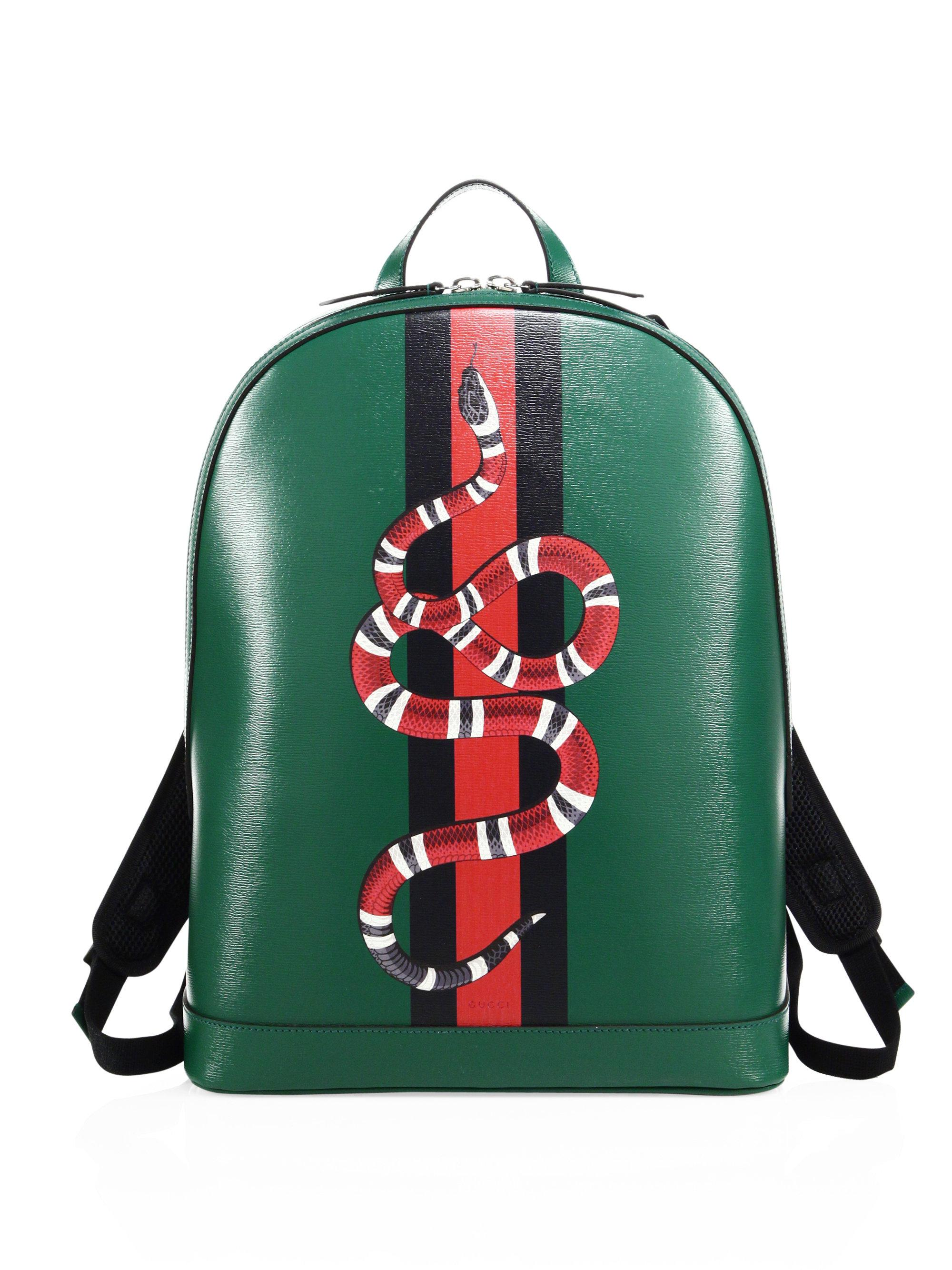 059f00481fb2 Gucci Snake Printed Leather Backpack in Green for Men - Lyst