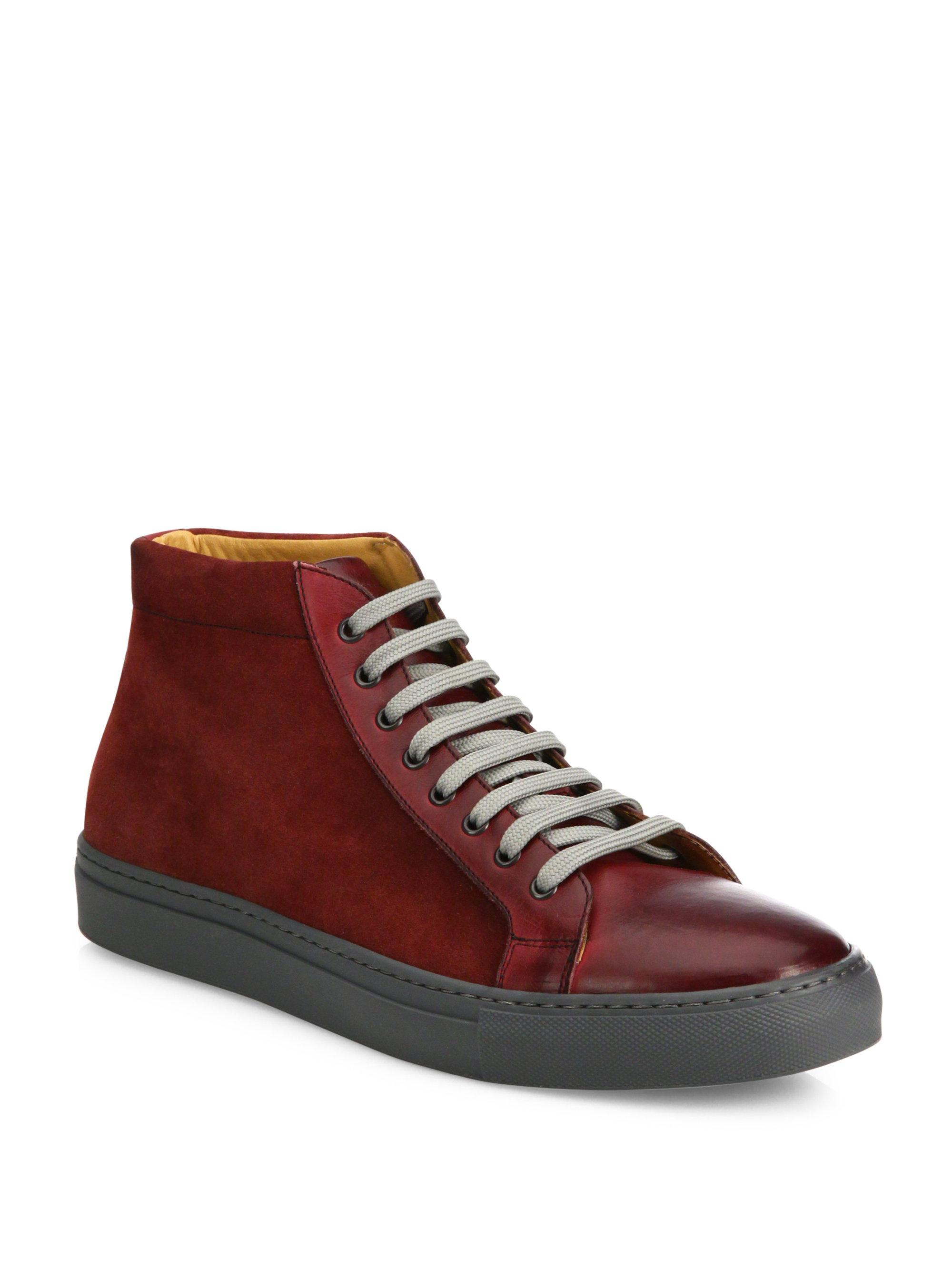 Saks Fifth Avenue COLLECTION Mix Media Leather High-Top Sneakers dI8h1BkKNK