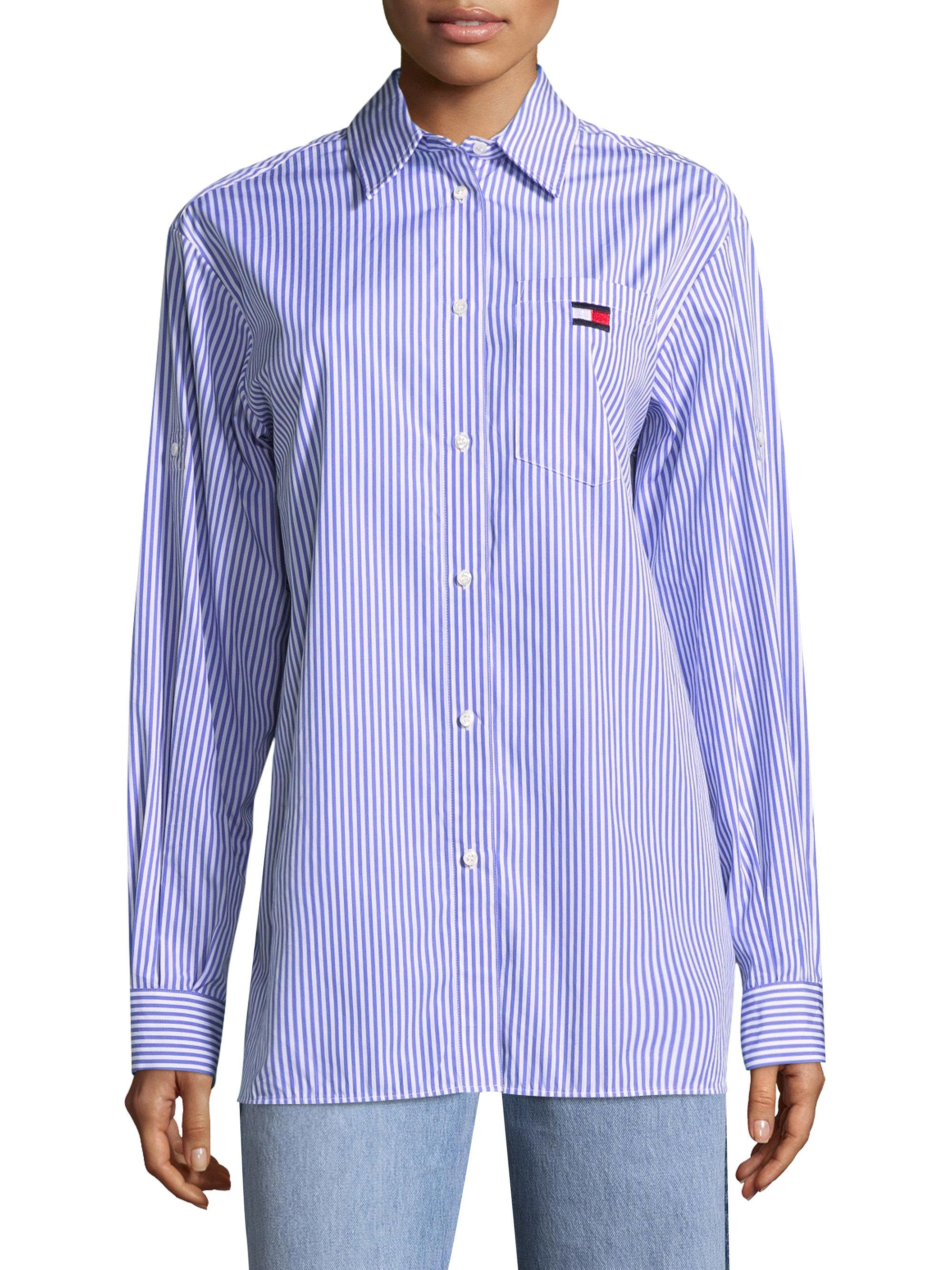 Lyst tommy hilfiger ithaca stripe shirt in blue for Tommy hilfiger fitzgerald striped shirt