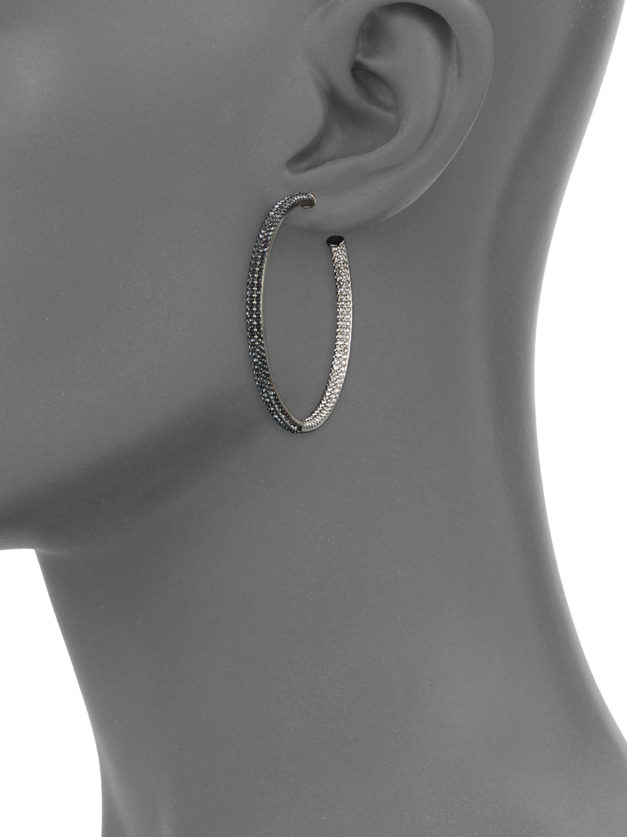 dfef3991d0e20 Adriana Orsini Metallic Two-tone Pave Swarovski Crystal Hoop Earrings/1.5