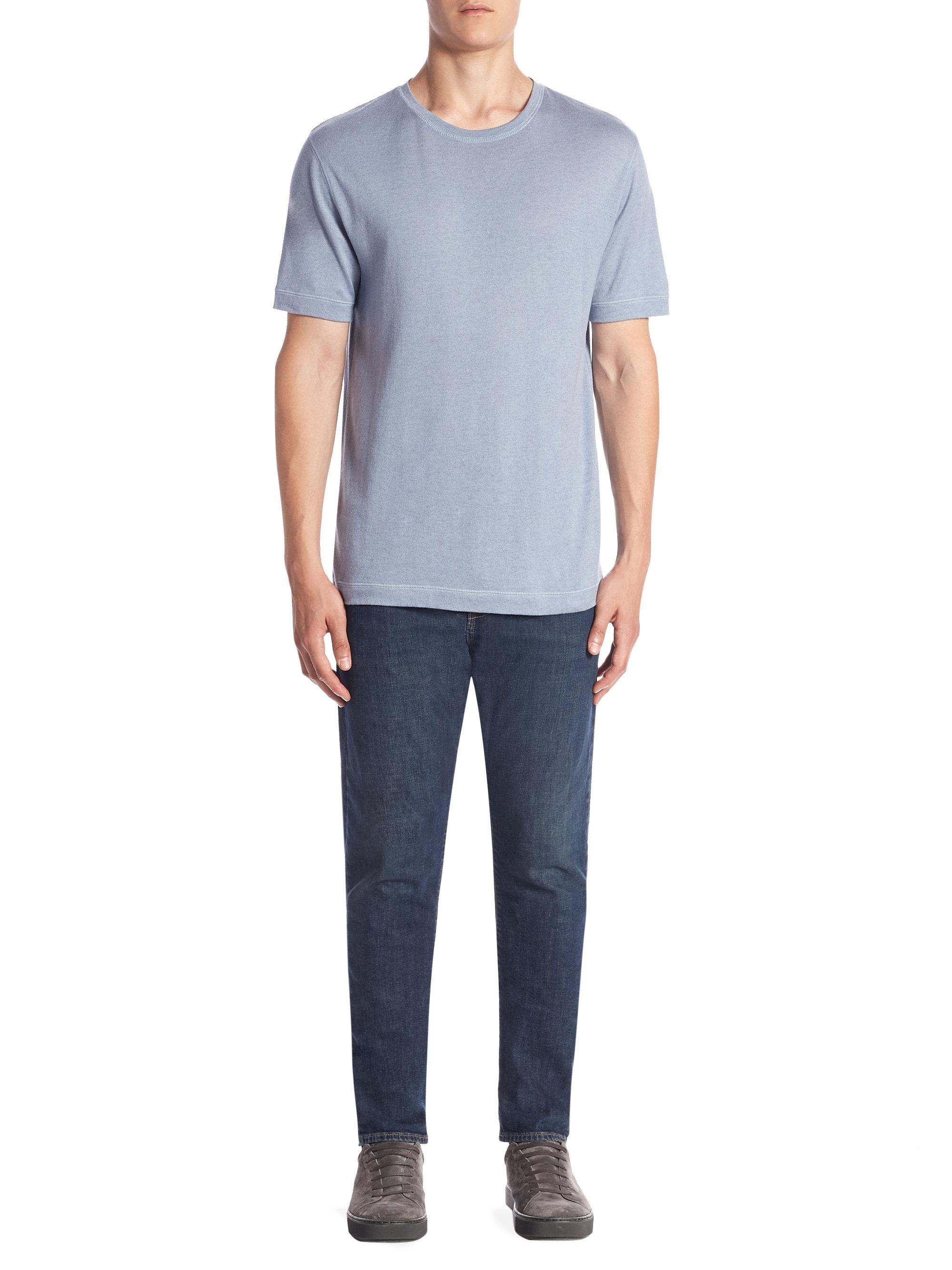 Lyst vince crewneck tee in blue for men for Vince tee shirts sale