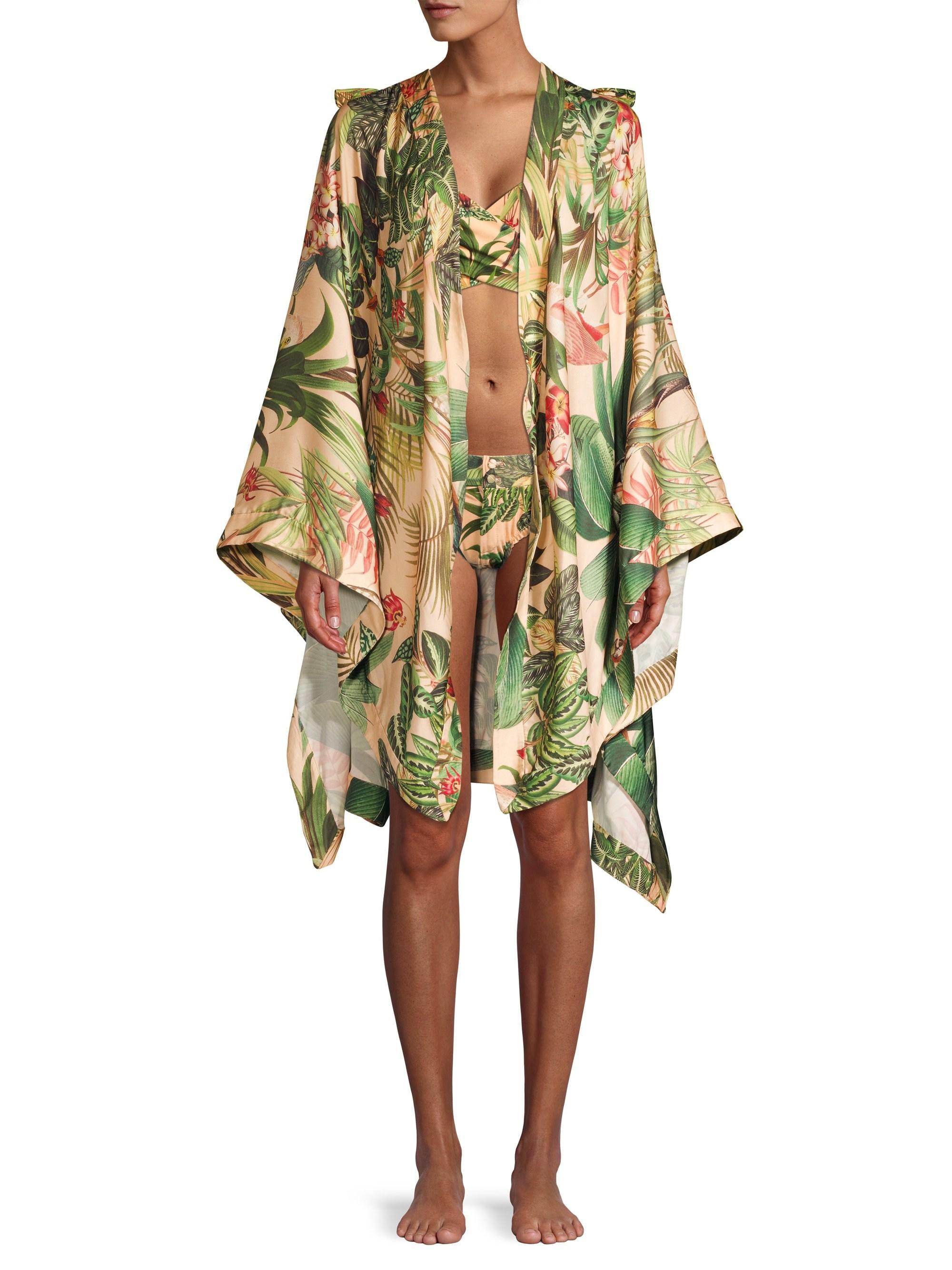 PatBO Women's Paradise Print Kimono – Pink