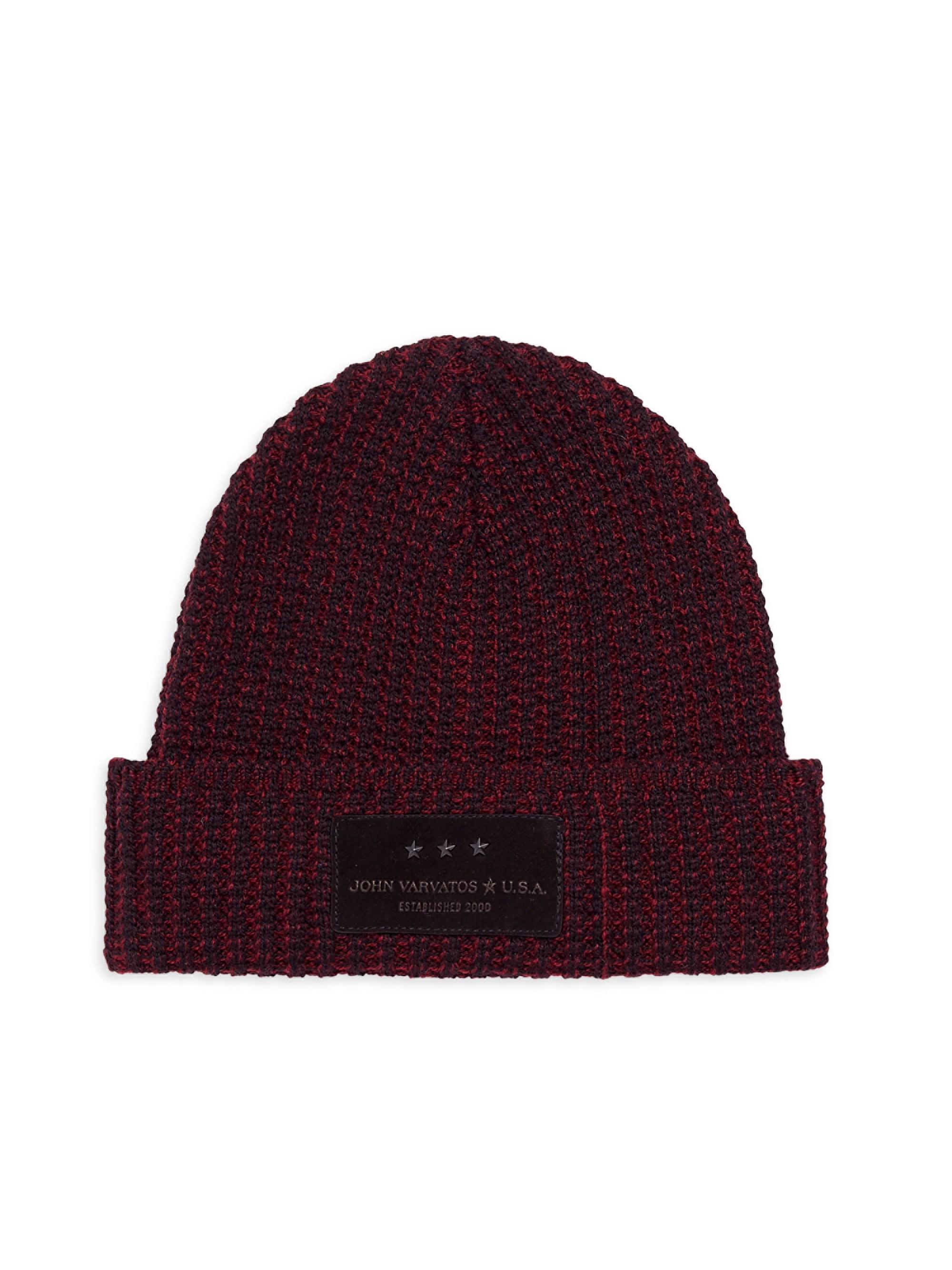 John Varvatos Merino Wool Knit Hat in Purple for Men - Lyst 2672f034c93d