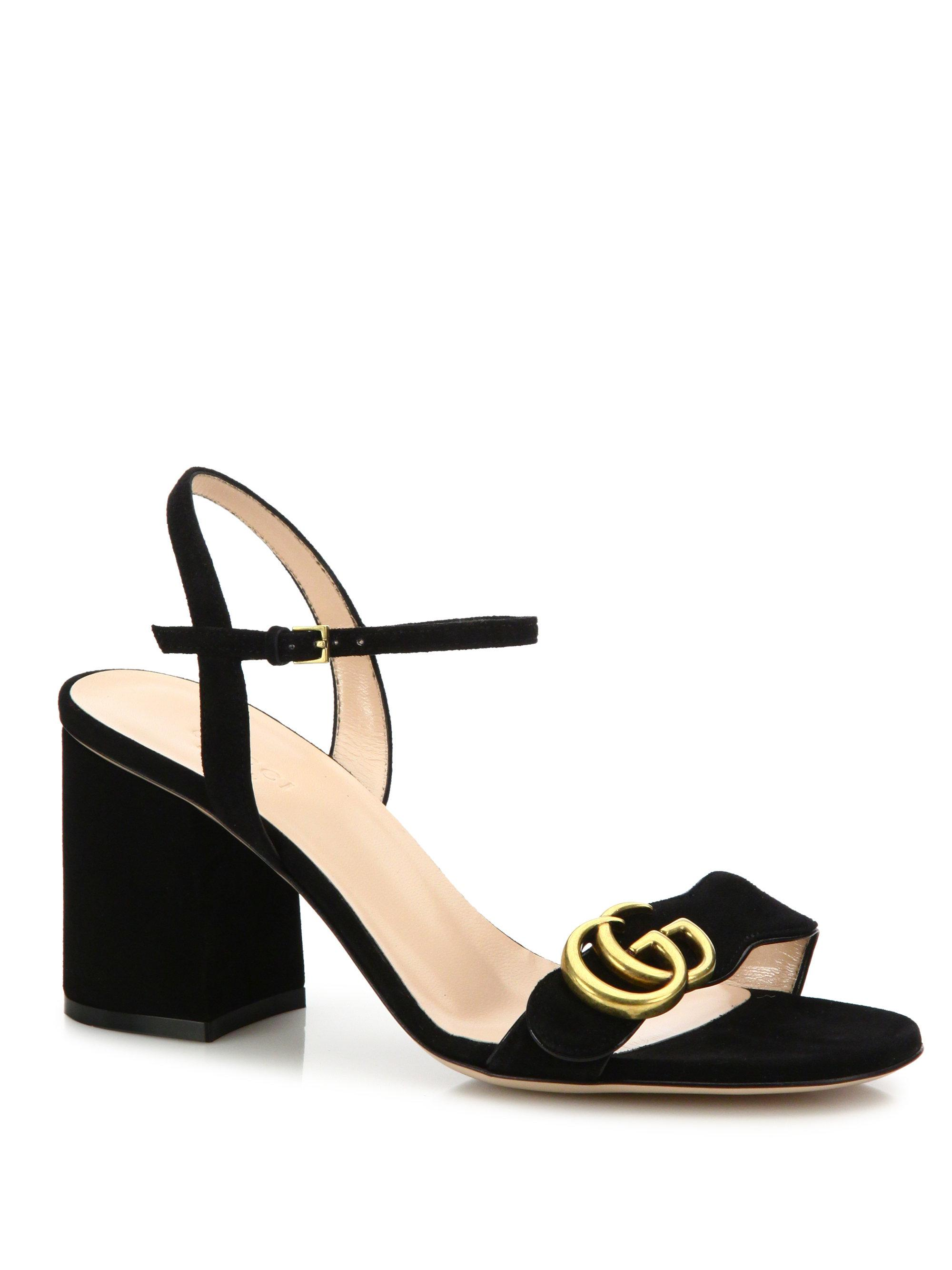 1738ef529 Lyst - Gucci Gg Marmont Sandal in Black