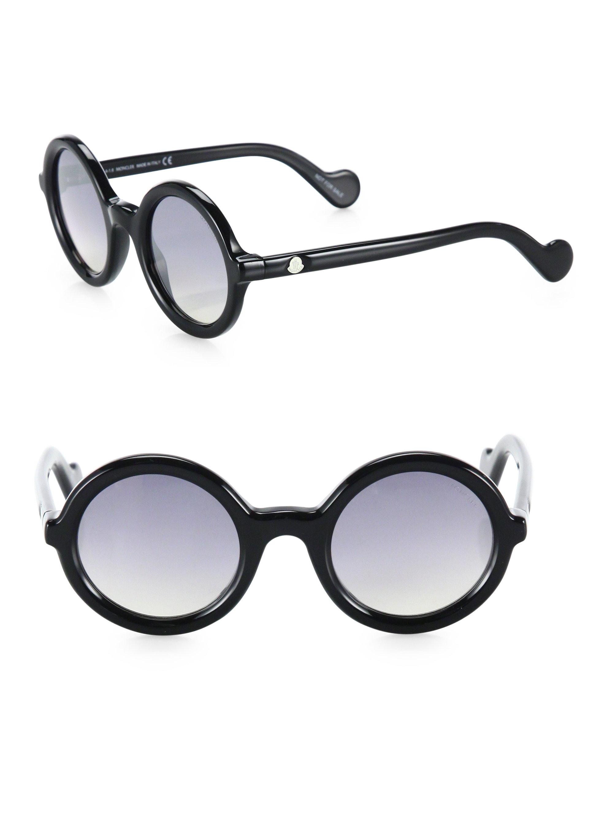 f64885718a3e Lyst - Moncler 50mm Mirrored Round Sunglasses in Black