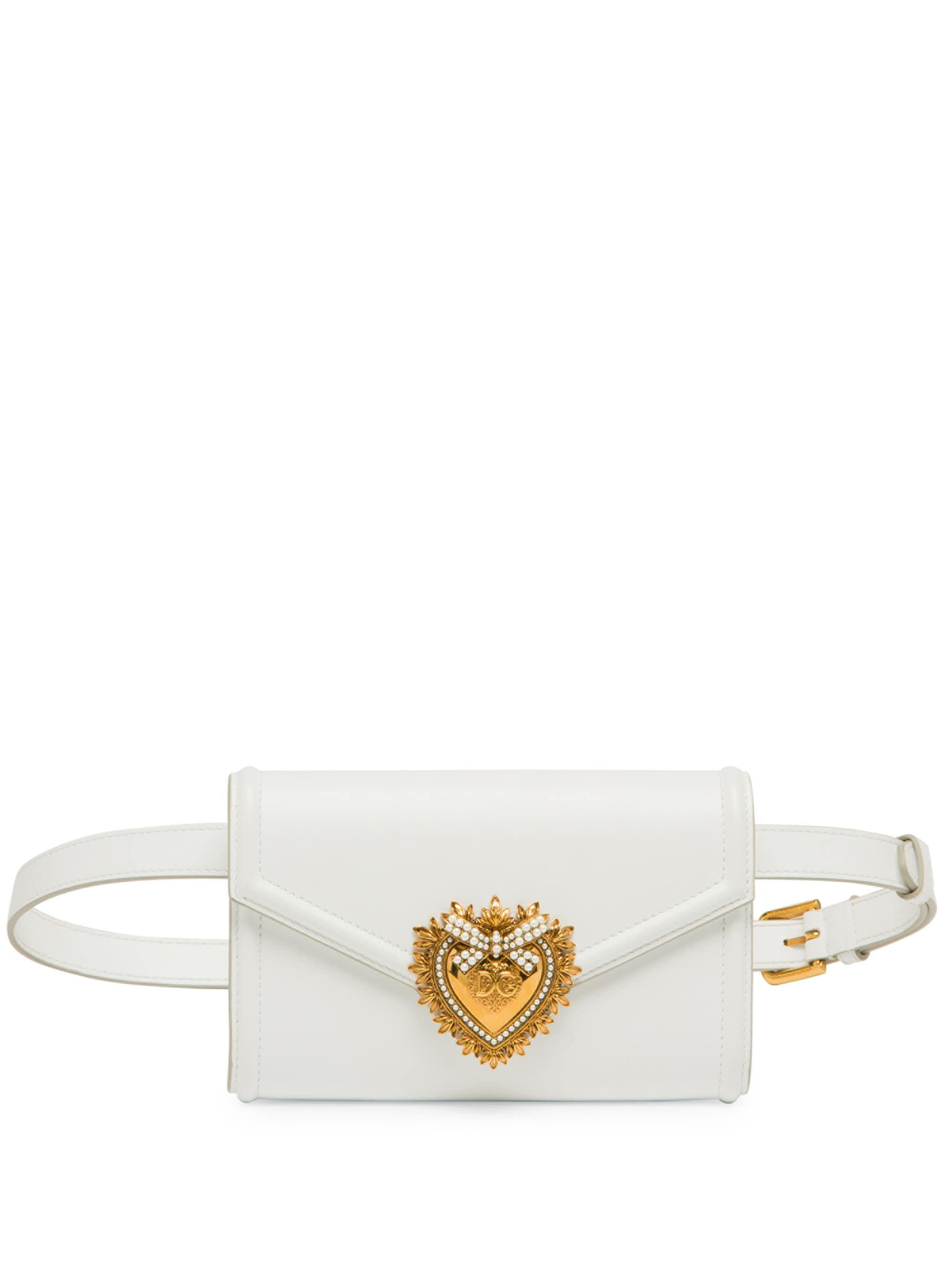 4ddfcbc5f09 Dolce & Gabbana White Devotion Leather Belt Bag
