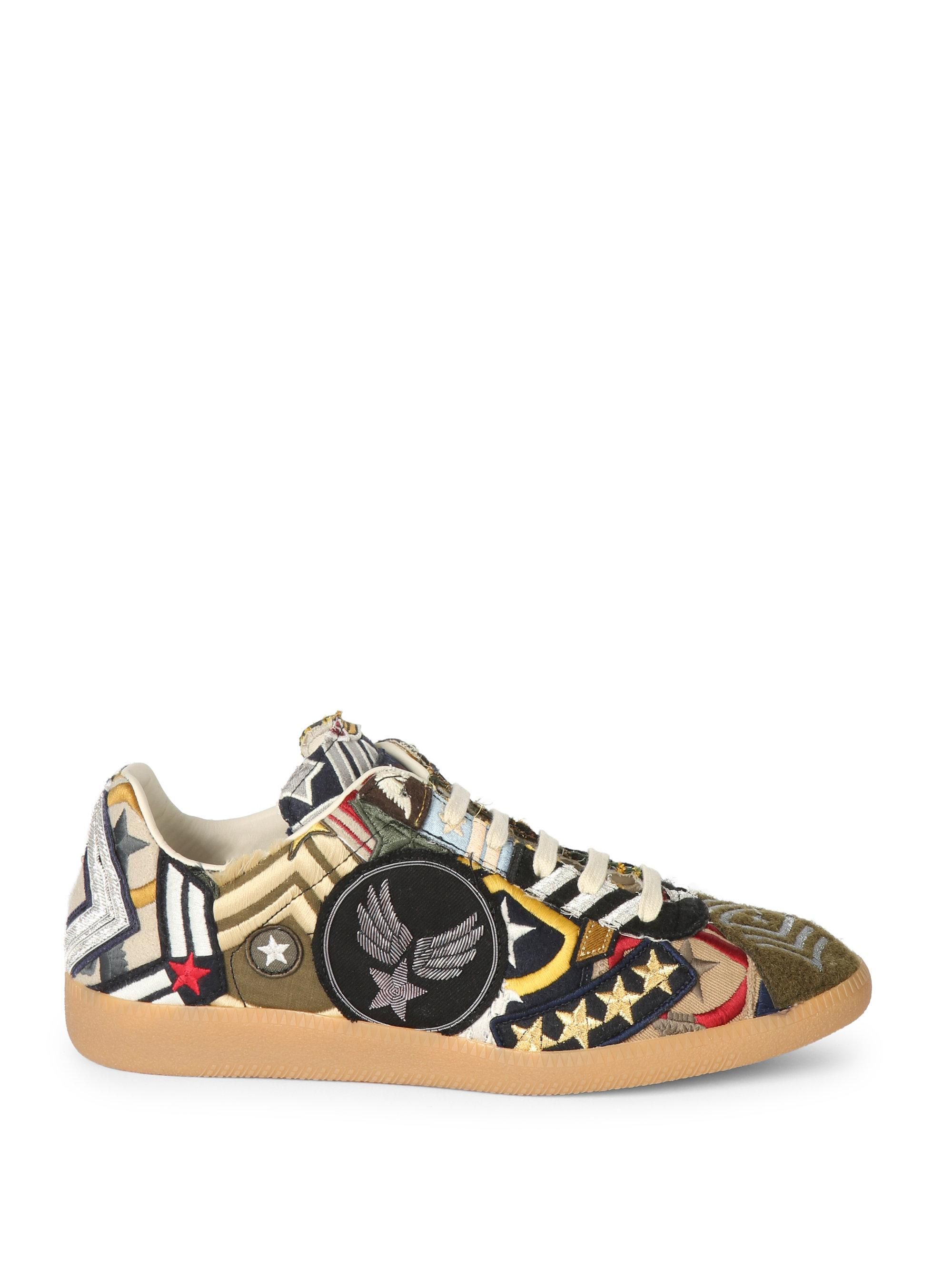 Maison Margiela Embroidered Leather Sneakers dQArNv4oK