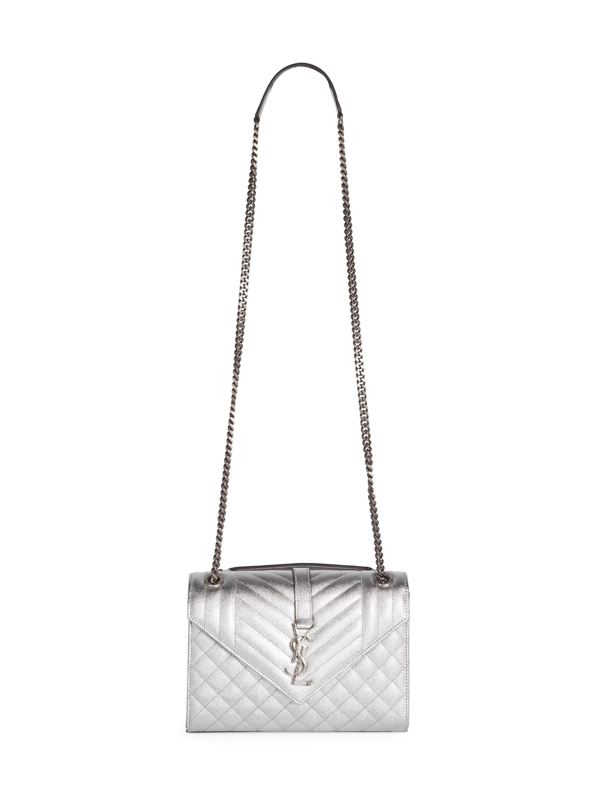 e699e3f926 Saint Laurent Women s Medium Embossed Leather Envelope Bag - Silver in  Metallic - Lyst