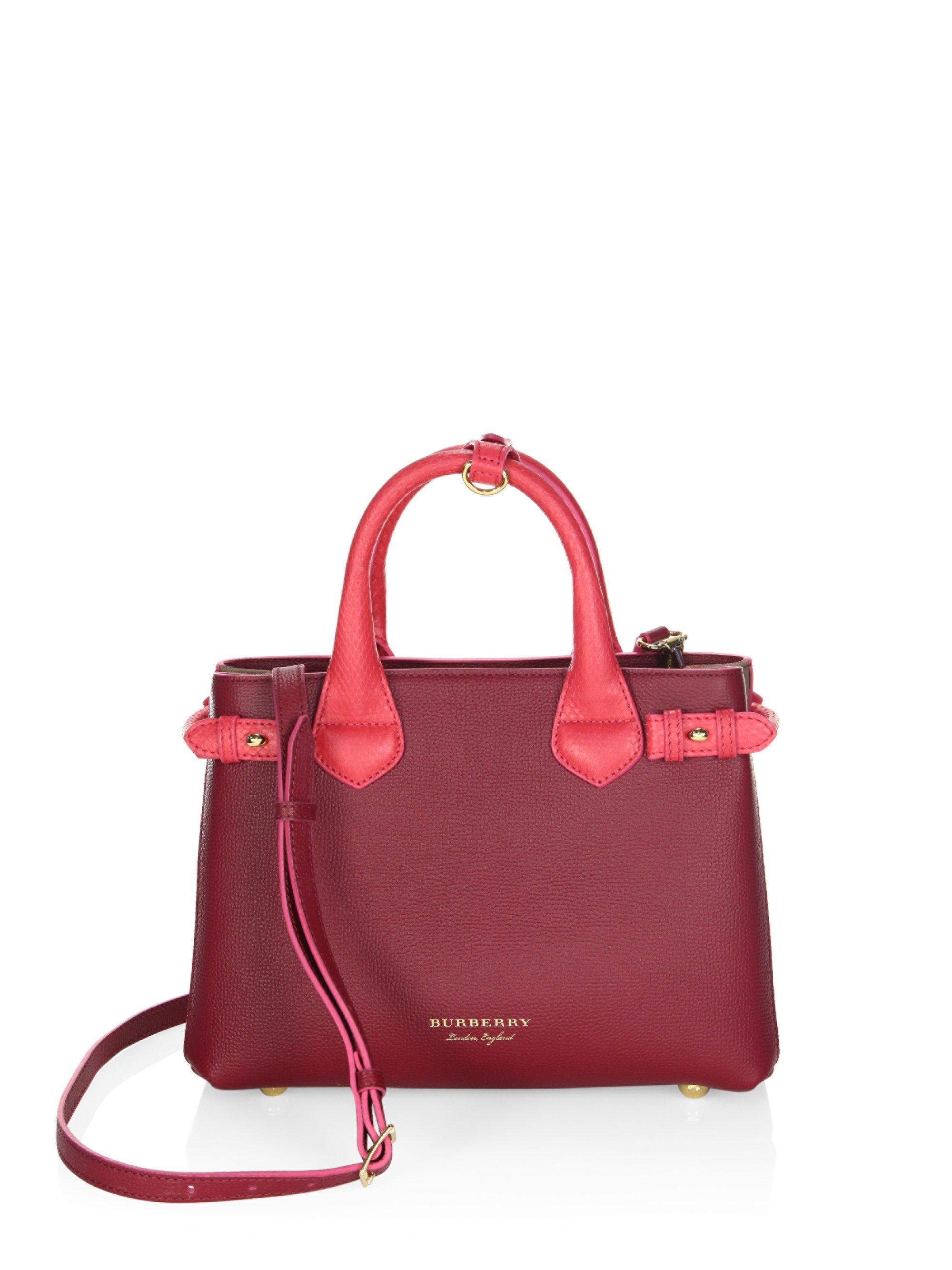 Lyst - Burberry Derby Leather Shoulder Bag in Pink 92df3c3439da8