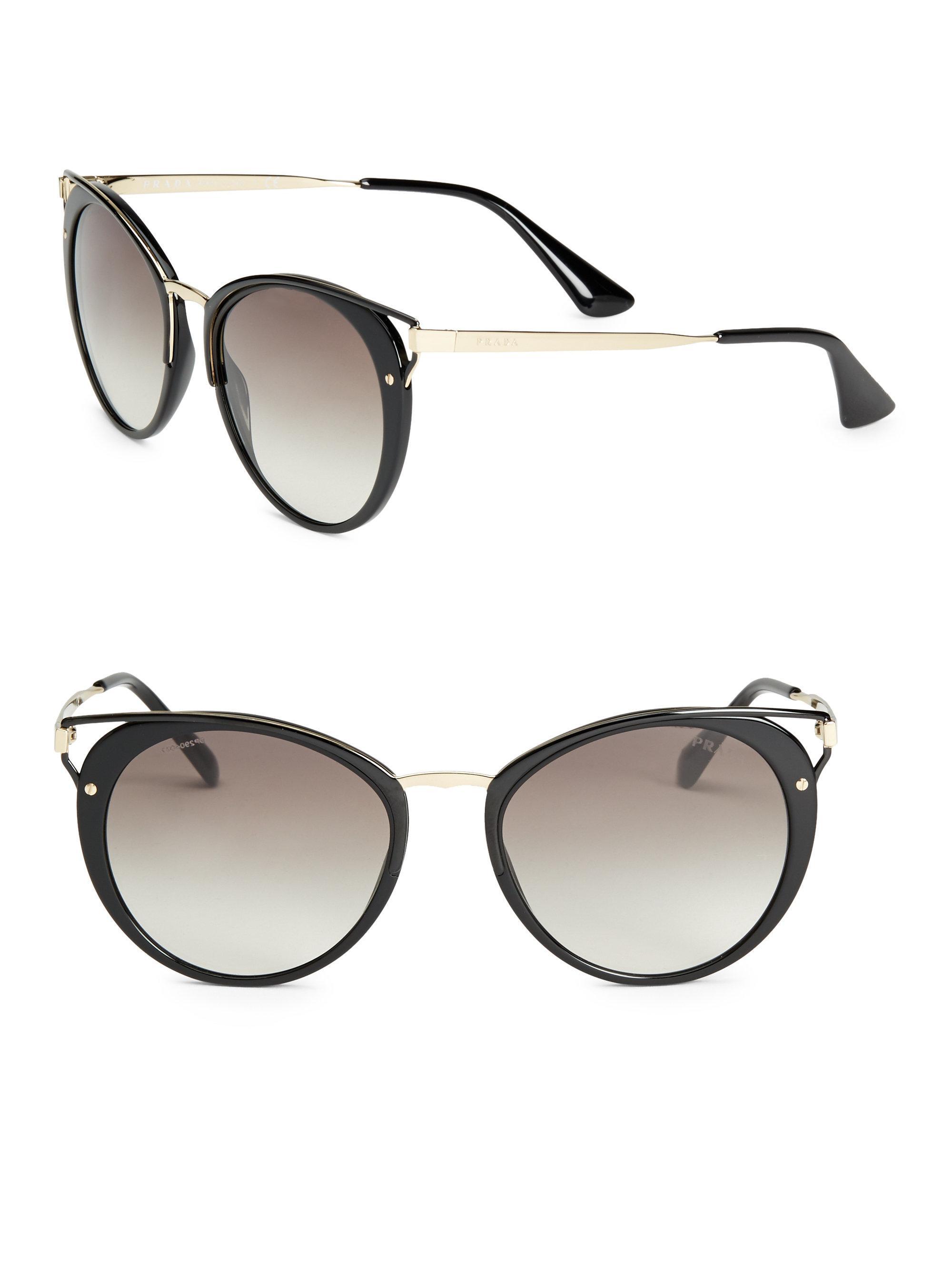 bef0bed478e8d ... uk prada. womens black 54mm cutout cat eye sunglasses fa908 216db