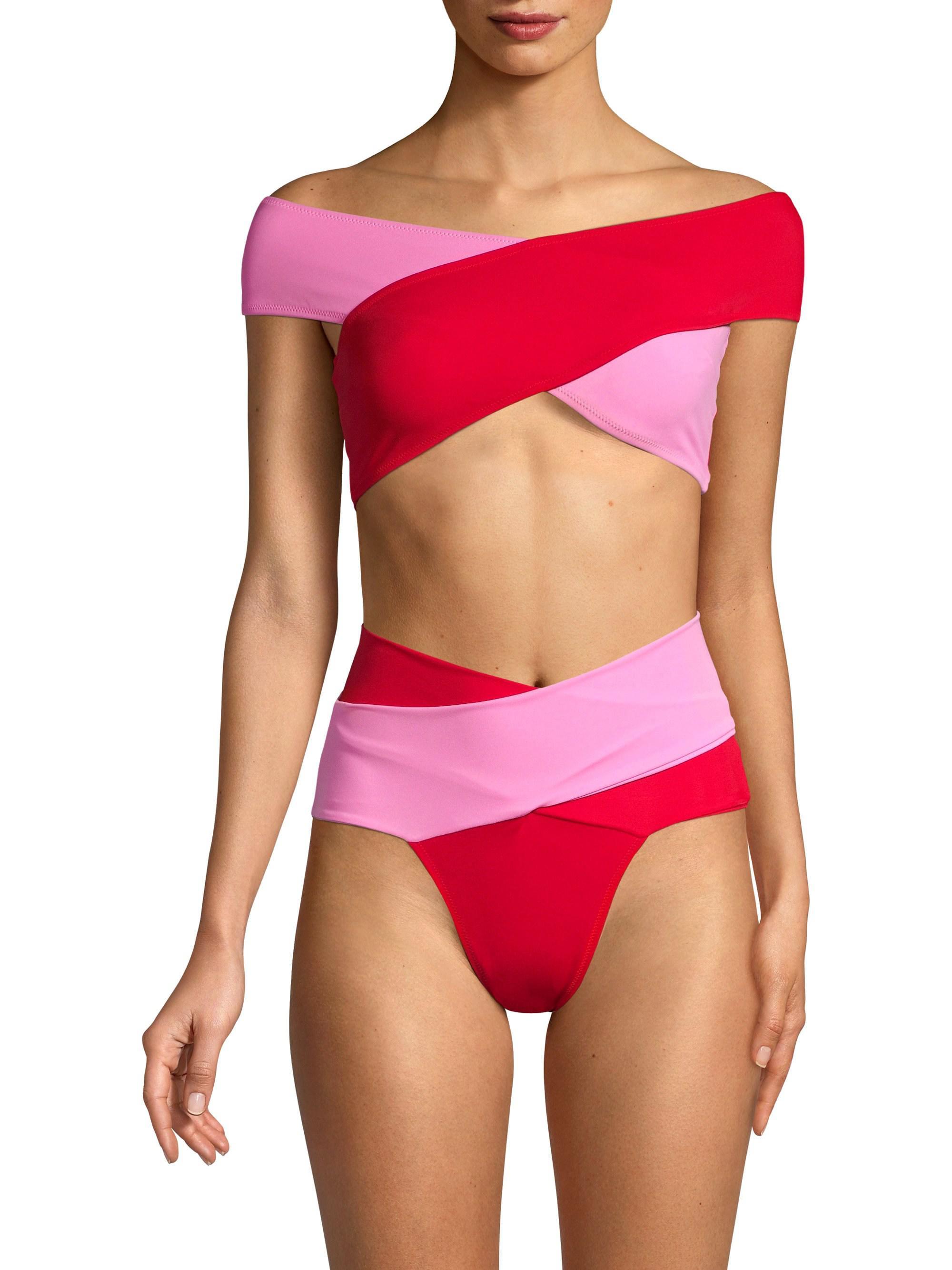 OYE Swimwear Womens Ela Bikini Set Pink//Red Small OYE Swimwear-Women/'s