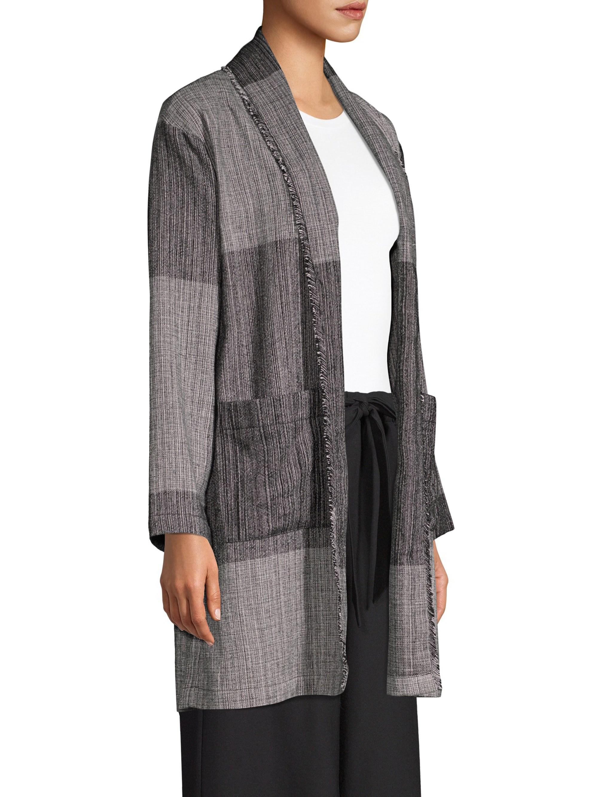 1530cb584aa Lyst - Eileen Fisher Women s Shawl Collar Long Cotton Jacket - Black - Size  Xxs xs in Black - Save 1%
