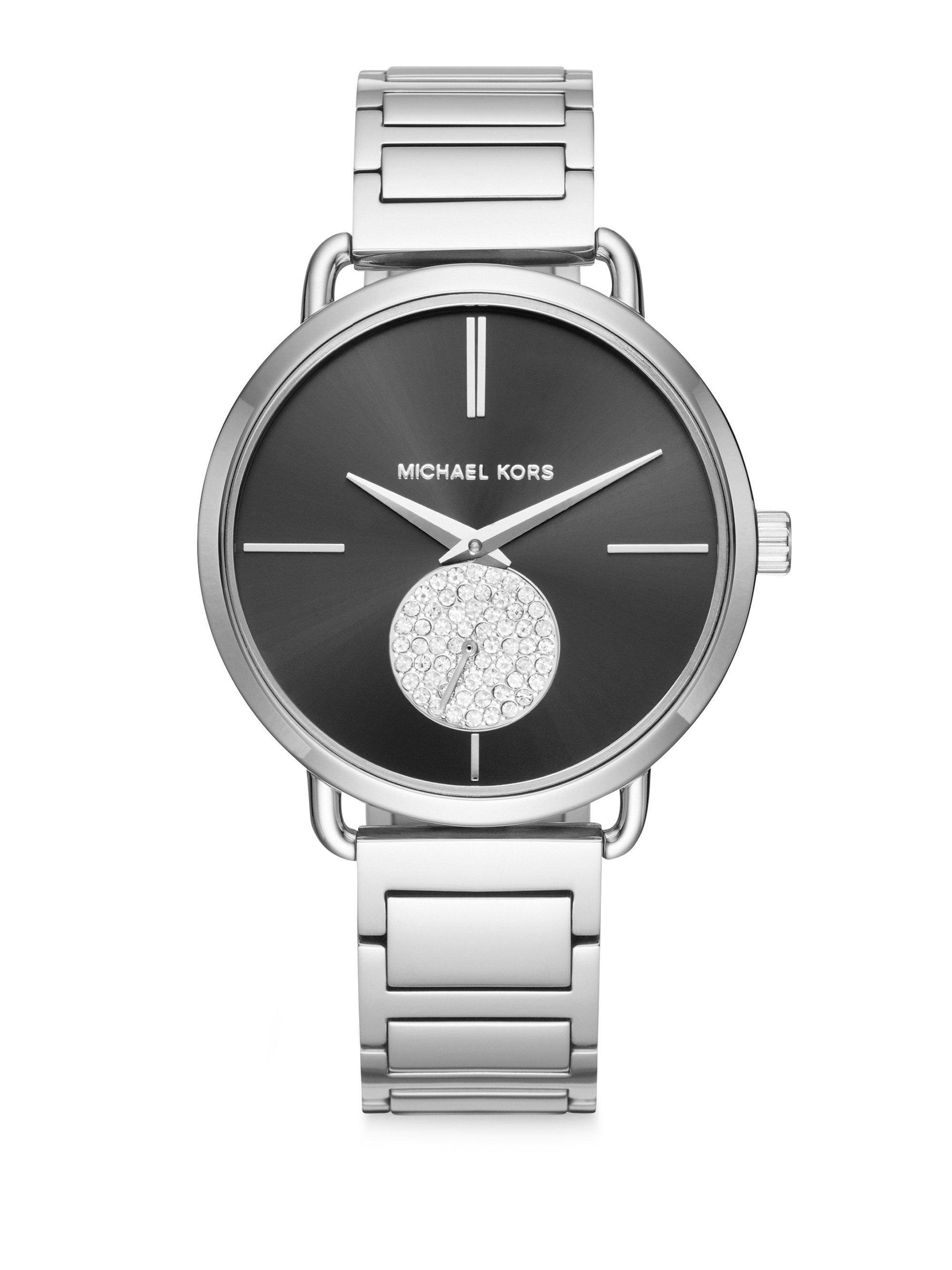 6a5493a7cac6f Lyst - Michael Kors Portia Stainless Steel Two-hand Sub-eye ...