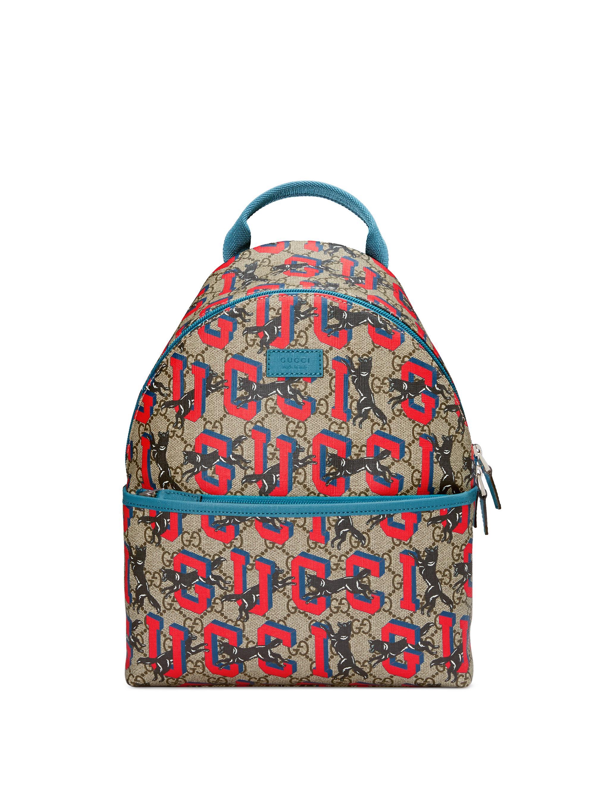08f5f9eef04 Gucci Kid's Graffiti Print Logo Back Backpack in Red - Lyst