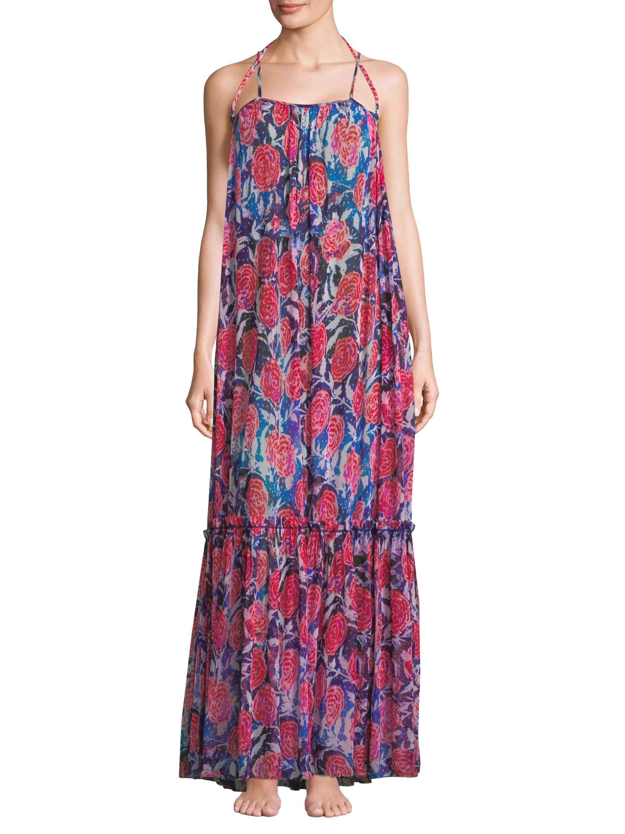 Lyst Fuzzi Long Floral Patio Dress in Blue